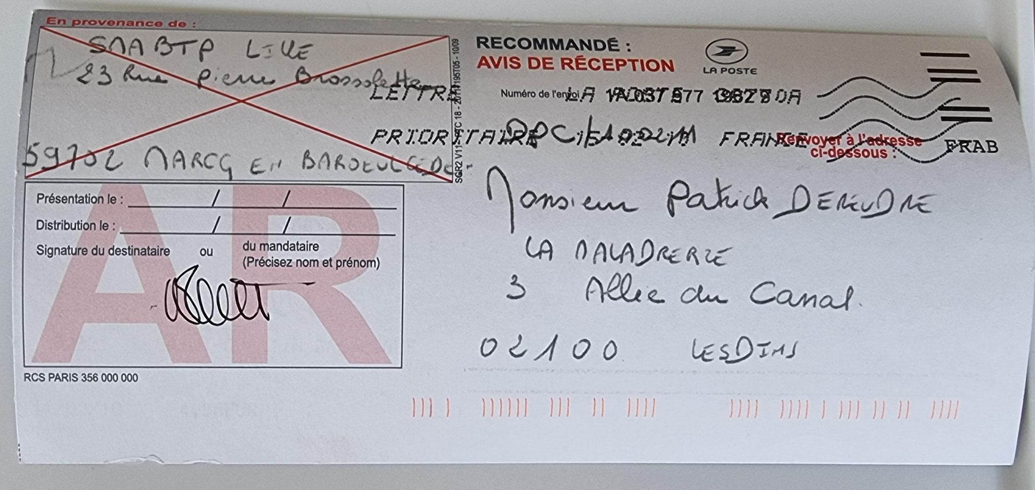 Le 11 Février 2010 j'adresse une LRAR à la SMABTP à Marcq-En-Baroeul la dommage ouvrage de mon constructeur LE BATISSEUR   BORDERLINE   EXPERTISES JUDICIAIRES ENTRE COPAINS...  www.jesuisvictime.fr www.jesuispatrick.fr