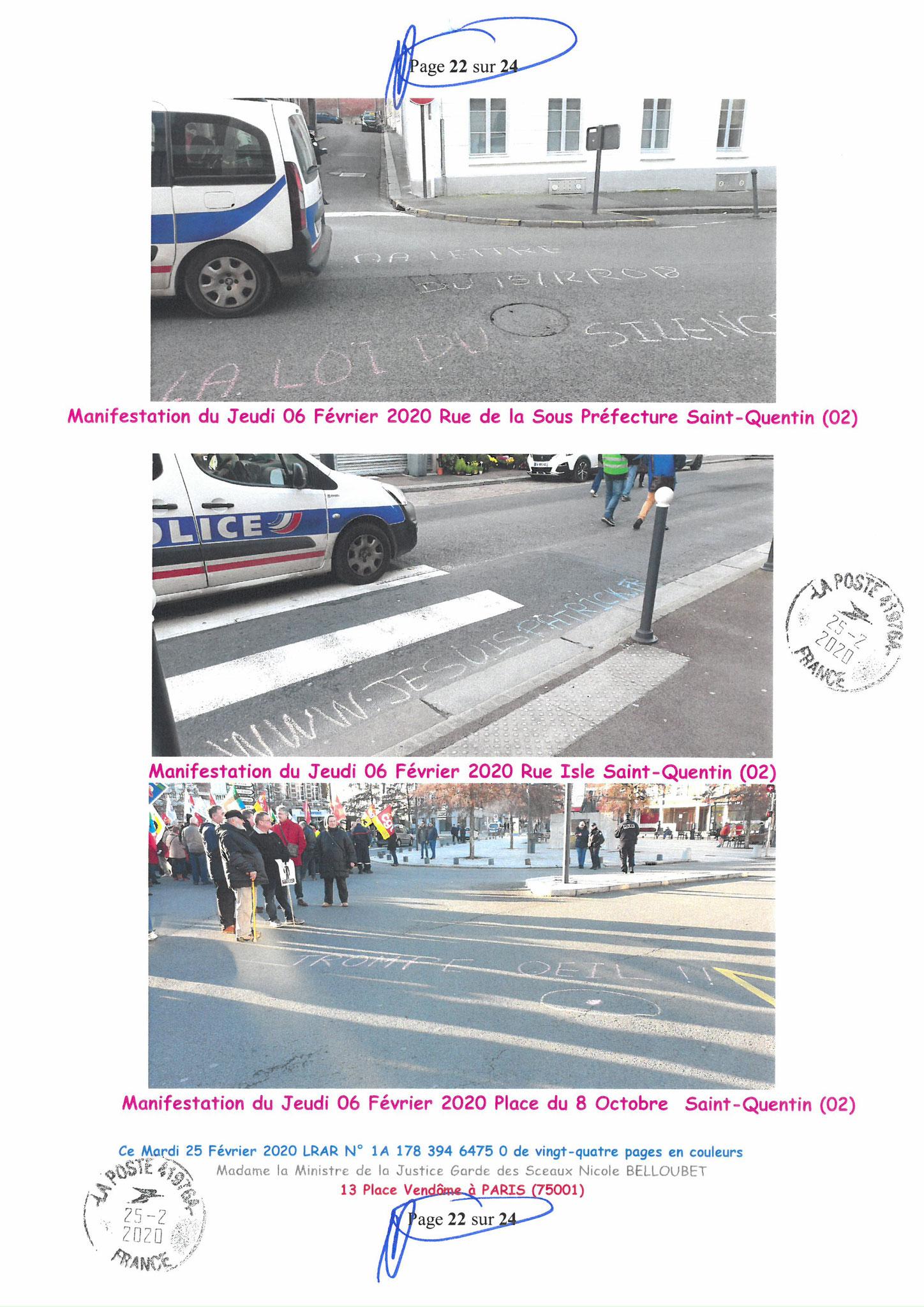 Ma LRAR à Madame Nicole BELLOUBET la Ministre de la Justice N0 1A 178 394 6475 0 Page 22 sur 24 en couleur  www.jesuispatrick.com www.jesuisvictime.fr www.alerte-rouge-france.fr