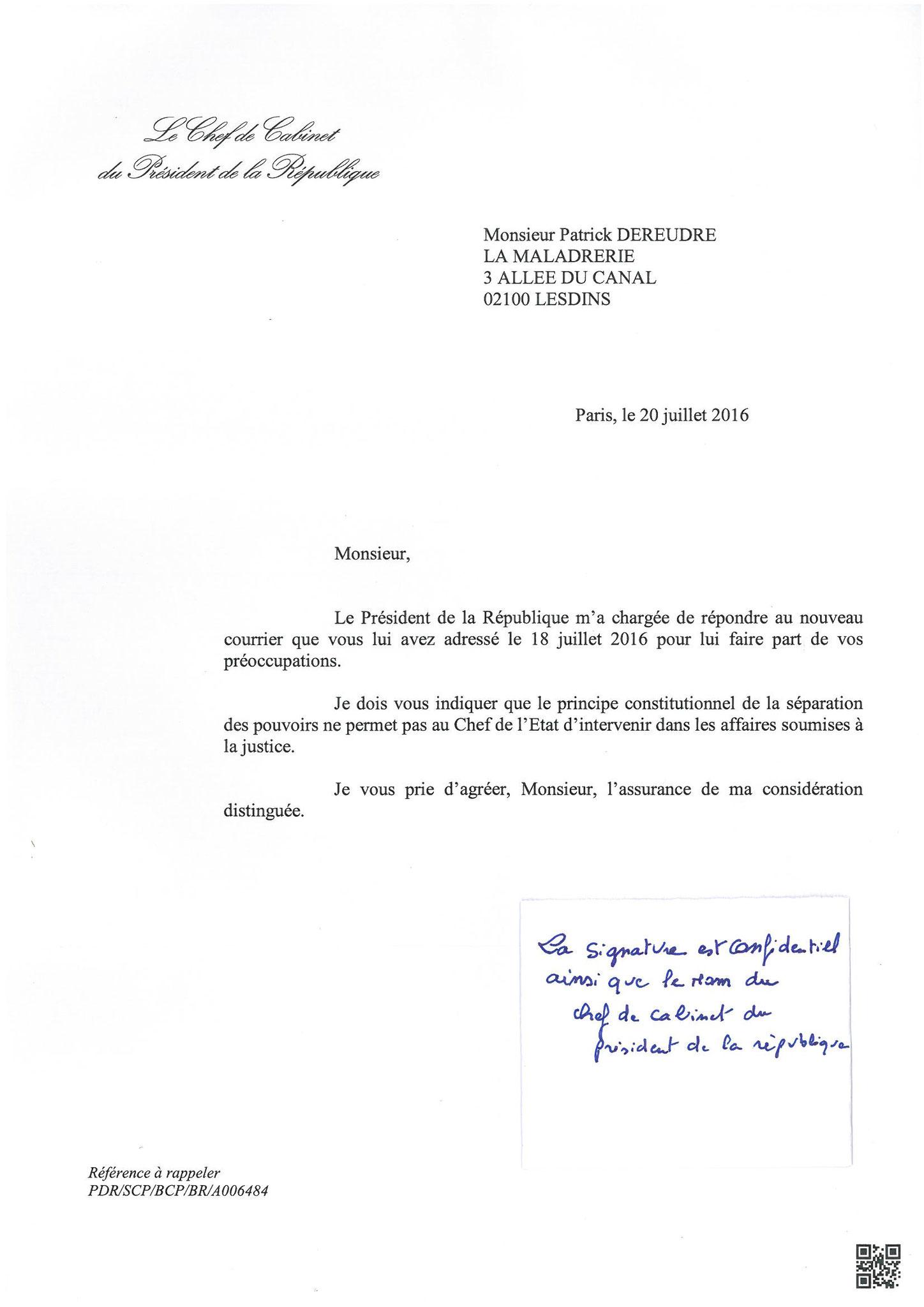 Réponse du Cabinet Présidentiel Courrier du 20 Juillet 2016 site www.maisonnonconforme.fr