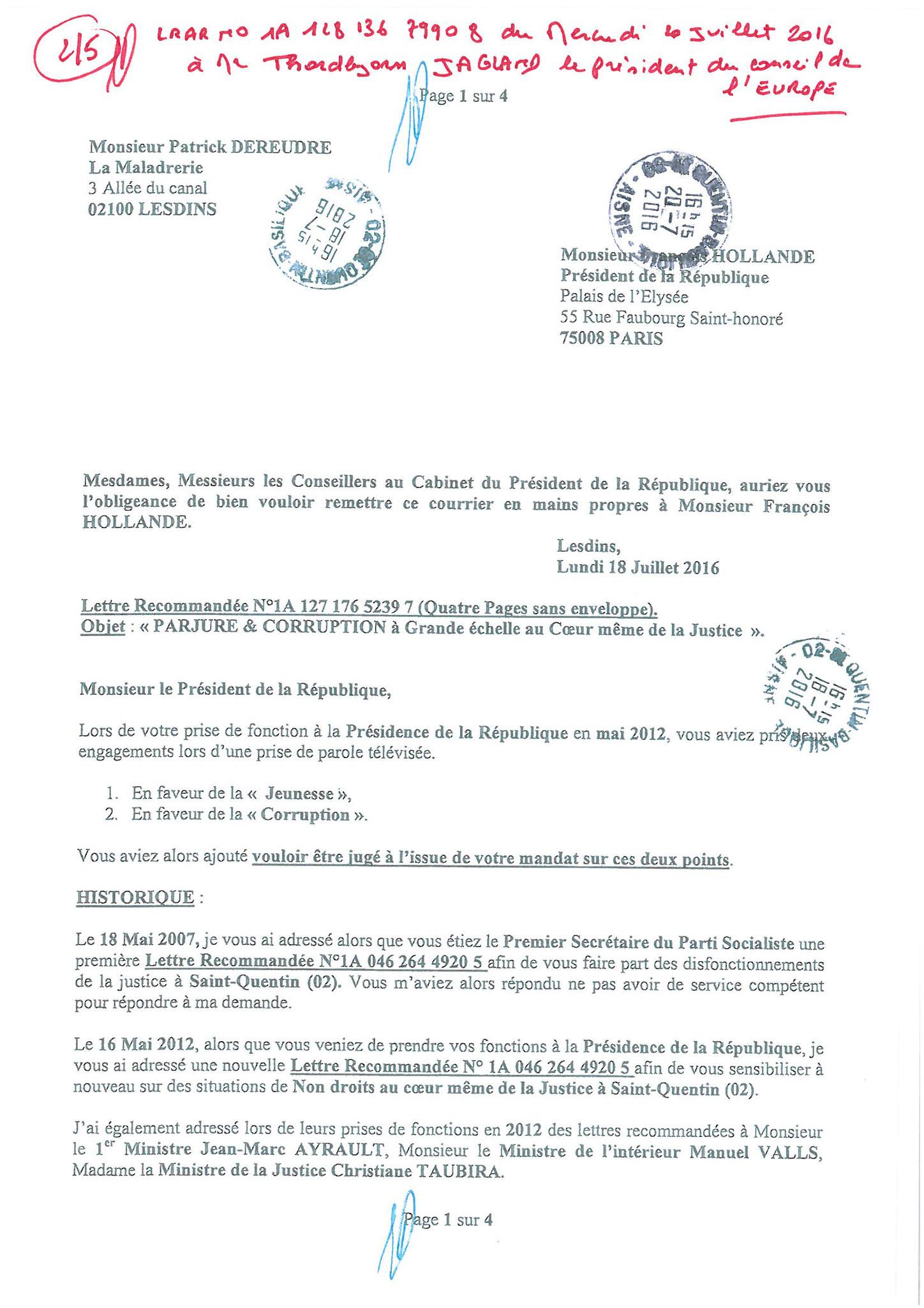 LRAR du 20 Juillet 2016 à Monsieur Thordjorn JAGLAND le Secrétaire Général du Conseil de l'Europe page 2 sur 5