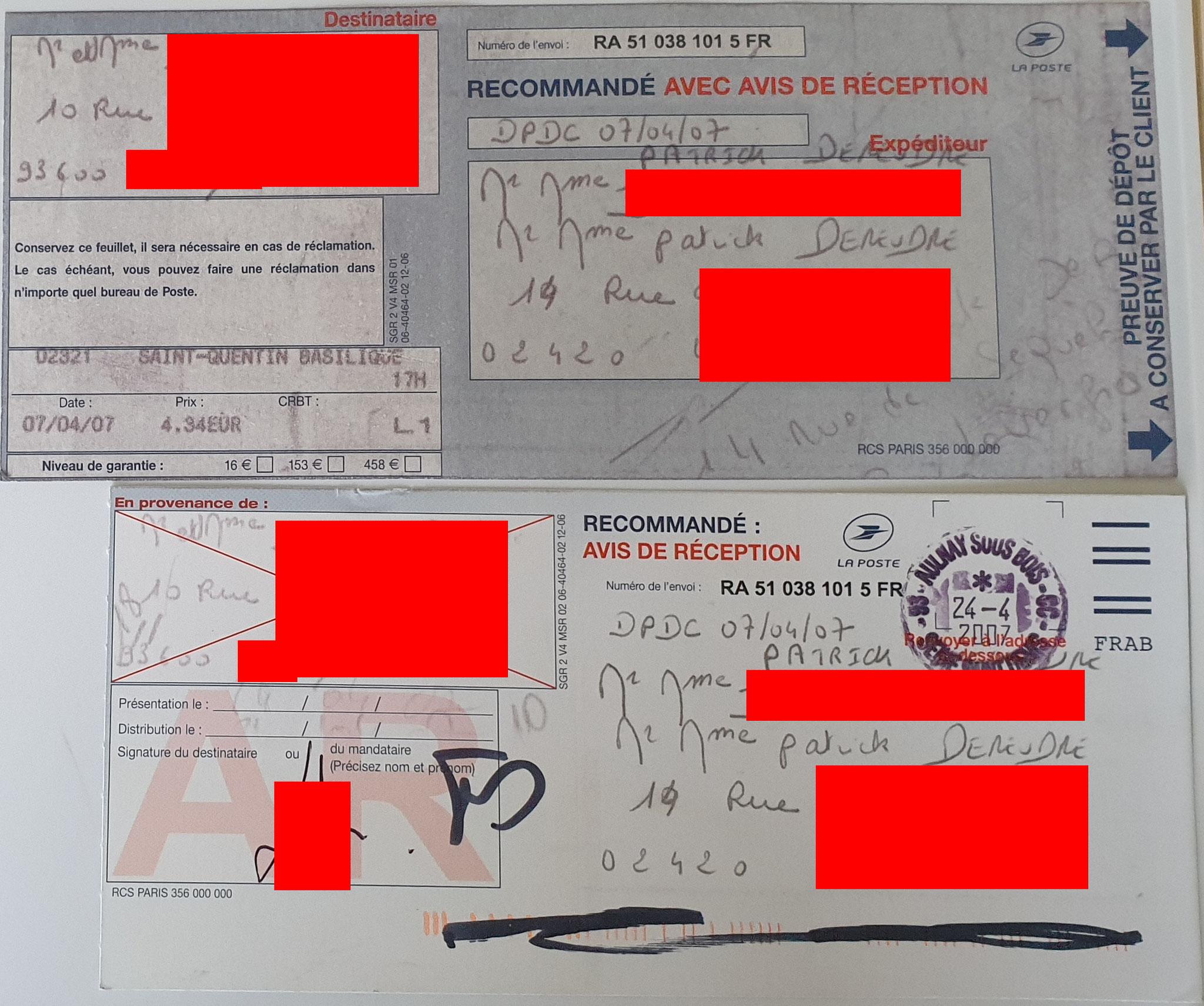 Notre Première Lettre Recommandée Avec accusé de Réception  N° RA 51 038 101 5 FR du 07 Avril 2007 à nos chers voisins www.jesuisvictime.fr www.jesuispatrick.fr www.jenesuispasunchien.fr PARJURE & CORRUPTION