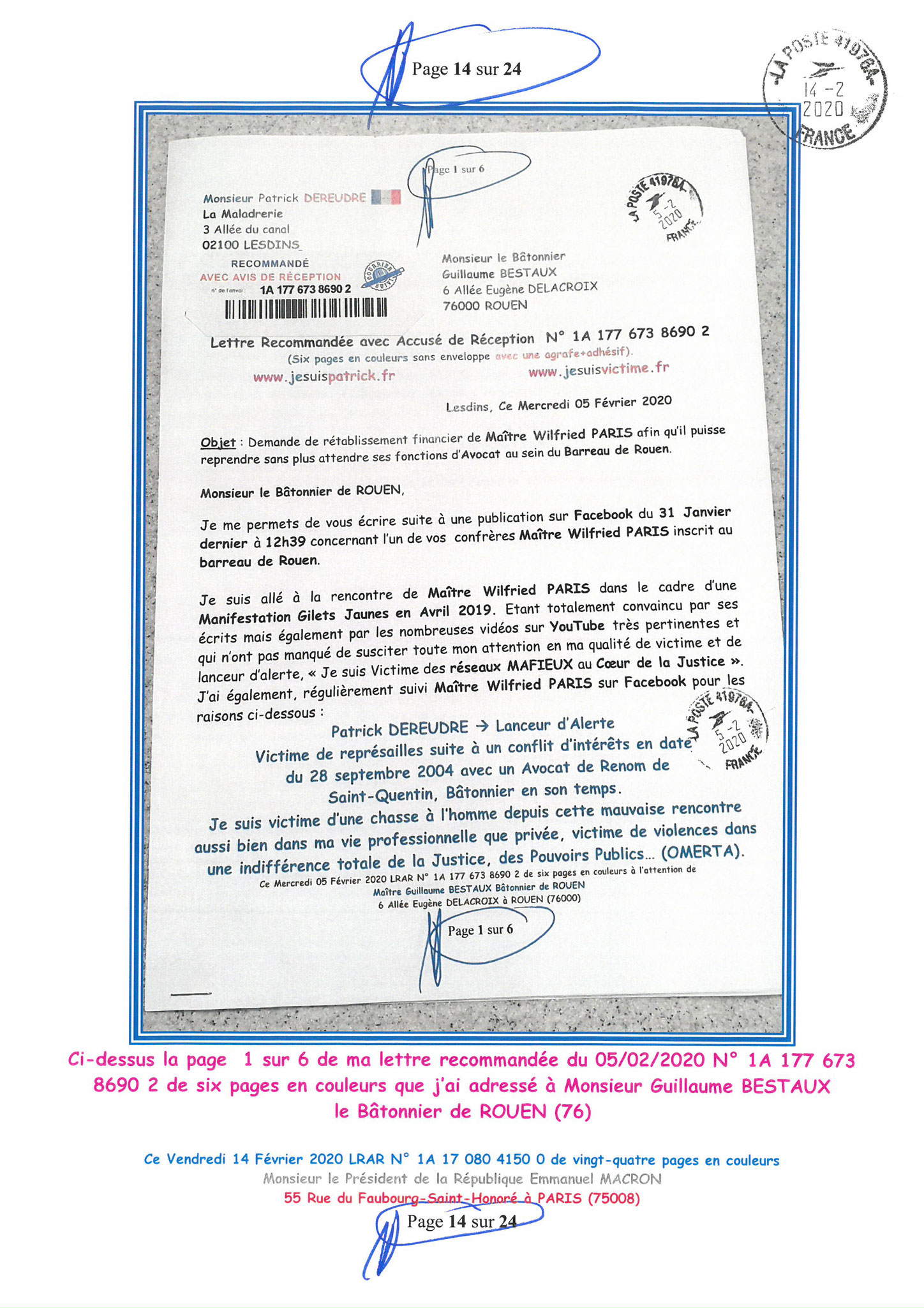 Ma lettre recommandée du 14 Février 2020 N° 1A 178 082 4150 0  page 14 sur 24 en couleur que j'ai adressé à Monsieur Emmanuel MACRON le Président de la République www.jesuispatrick.fr www.jesuisvictime.fr www.alerte-rouge-france.fr