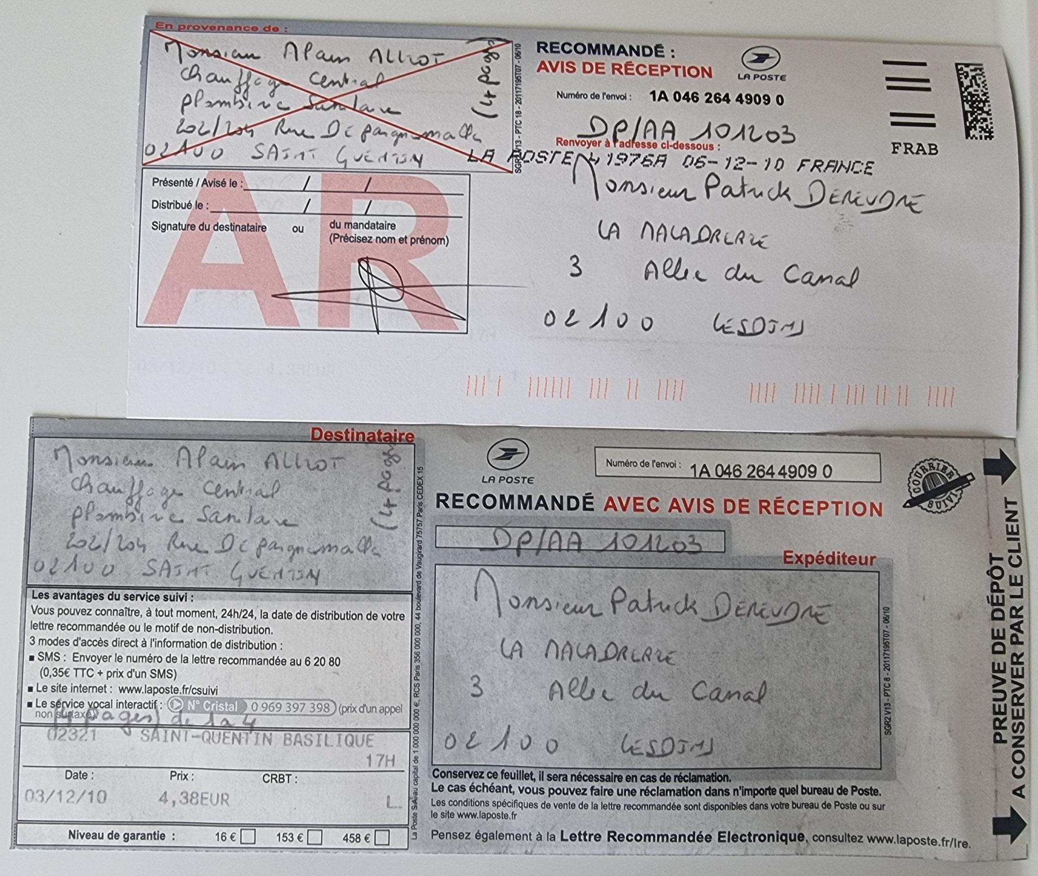 Le 03 Décembre 2010 j'adresse une LRAR de quatre pages à Monsieur Alain ALLIOT.  INACCEPTABLE  BORDERLINE      EXPERTISES JUDICIAIRES ENTRE COPAINS...  www.jenesuispasunchien.fr www.jesuisvictime.fr www.jesuispatrick.fr
