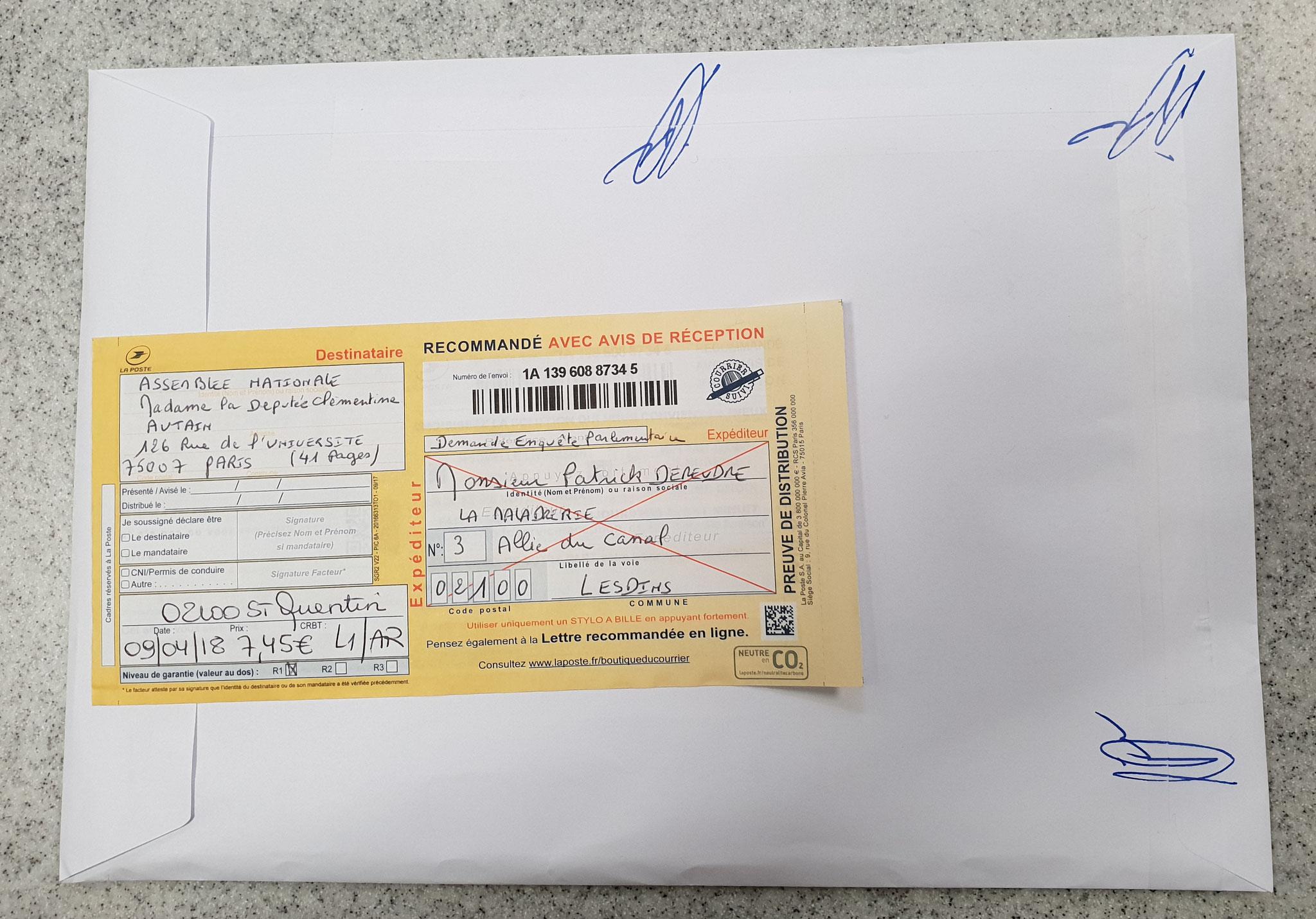 Ma lettre recommandée du 09 Avril 2018 N° 1A 139 608 8734 5  adressée à Madame Clémentine AUTAIN Députée  NON ASSISTANCE A PERSONNE EN DANGER www.jesuispatrick.fr www.jesuisvictime.fr www.jenesuispasunchien.fr