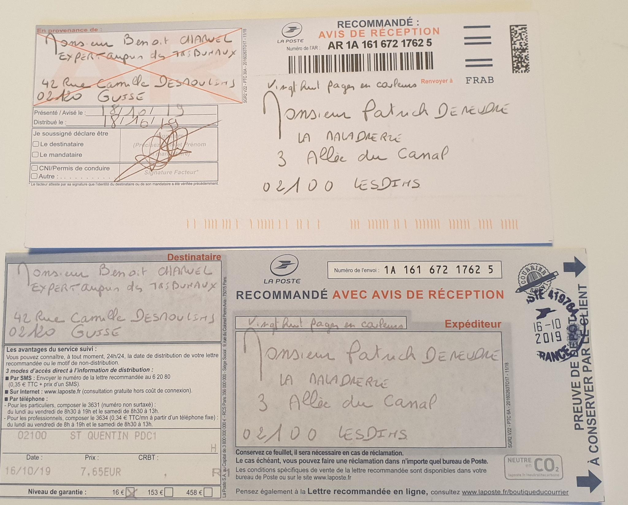 Ma Lettre recommandée à l'Expert Judiciaire mandaté par le Tribunal de Grande Instance de Saint-Quentin Du 16 Octobre 2019 adressé à Monsieur l'Expert Judiciaire Benoit CHARUEL soit vingt huit pages en couleurs