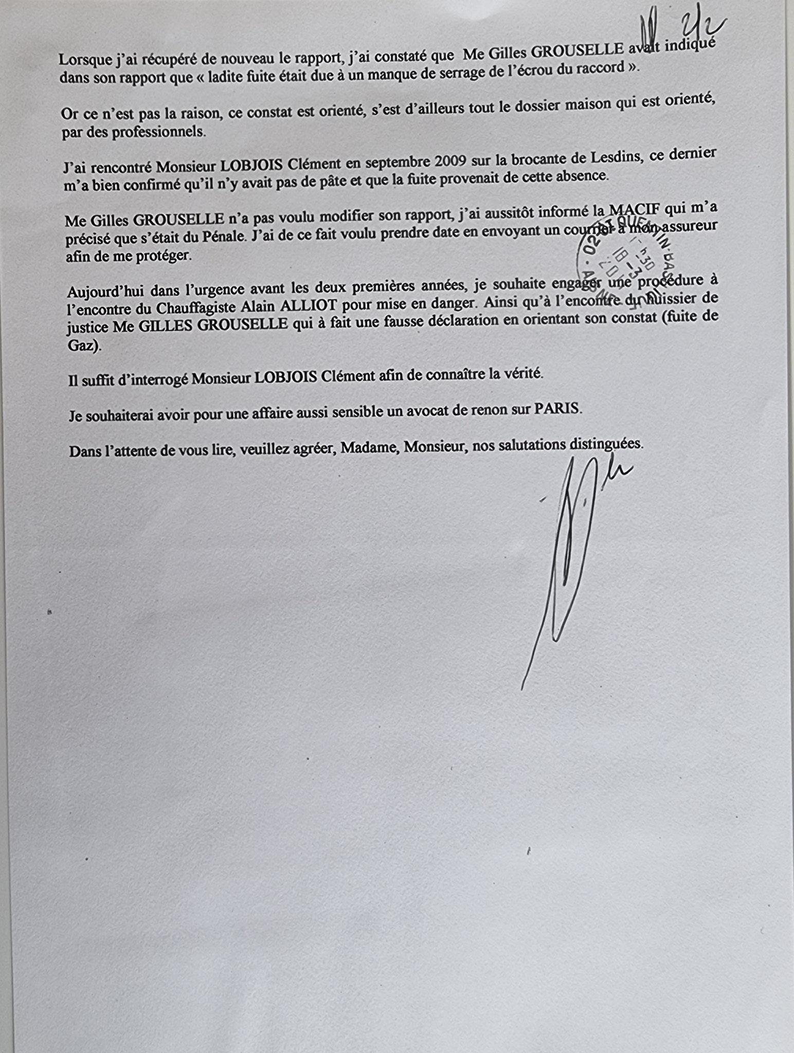 Le 18 Mars 2011 j'adresse une LRAR à ma protection Juridique CGE ASSURANCES que j'ai souscrite à la CAISSE D'EPARGNE de Picardie soit deux pages.     INACCEPTABLE  BORDERLINE    EXPERTISES JUDICIAIRES ENTRE COPAINS...  www.jesuispatrick.fr