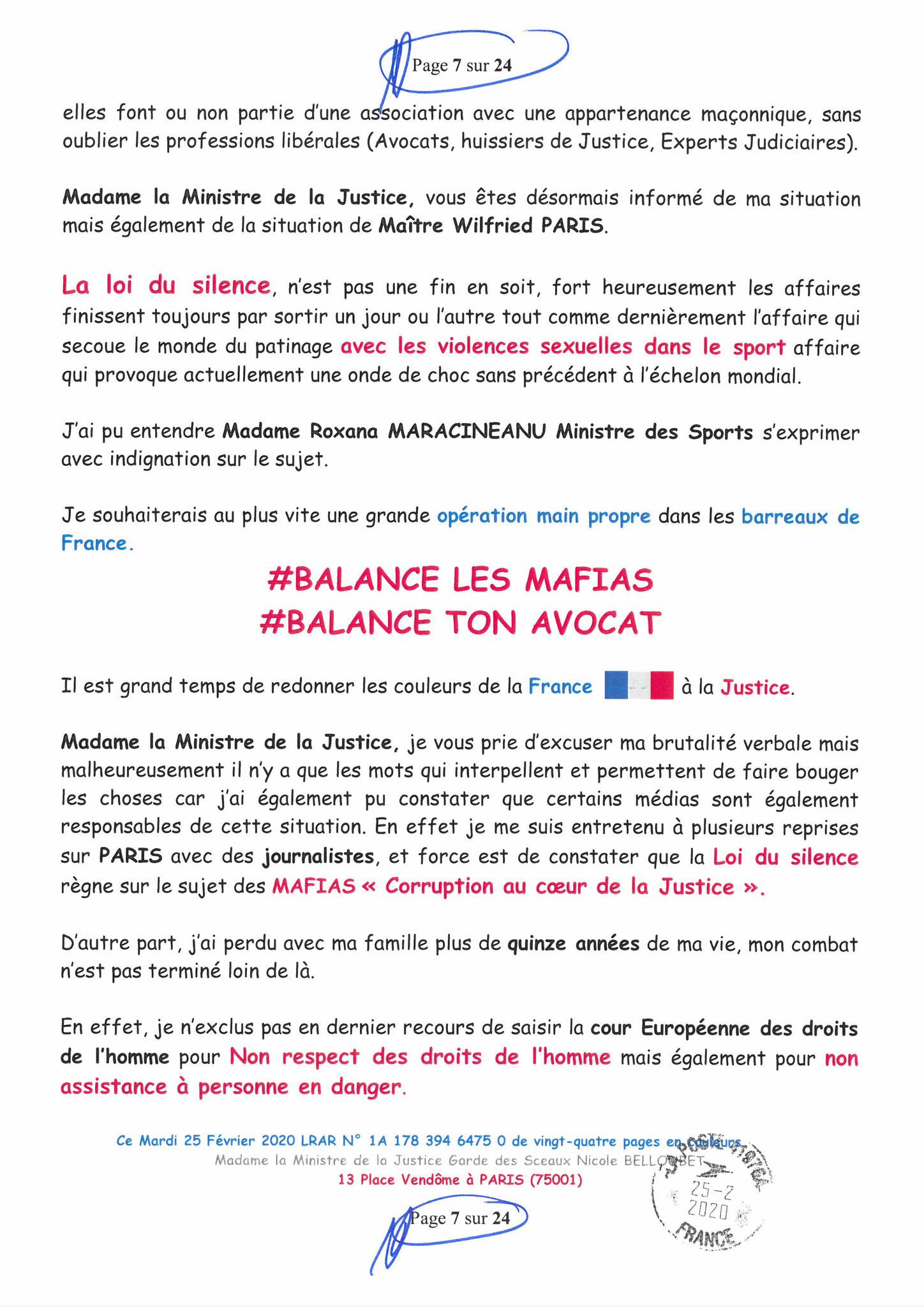 Ma LRAR à Madame Nicole BELLOUBET la Ministre de la Justice N0 1A 178 394 6475 0 Page 7 sur 24 en couleur  www.jesuispatrick.com www.jesuisvictime.fr www.alerte-rouge-france.fr