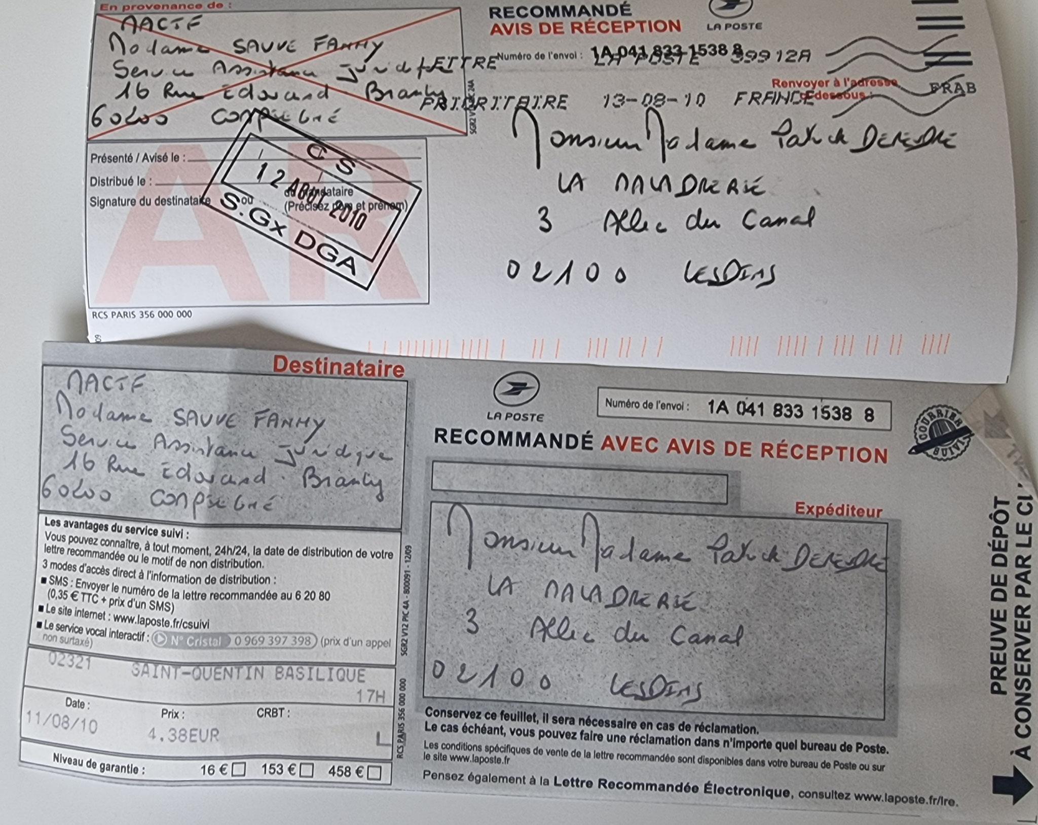 Ma lettre recommandée du 11 Août 2010 adressée à Monsieur Cyril CABROL le Directeur de notre constructeur LE BATISSEUR        INACCEPTABLE  BORDERLINE      EXPERTISES JUDICIAIRES ENTRE COPAINS...  www.jenesuispasunchien.fr www.jesuispatrick.fr