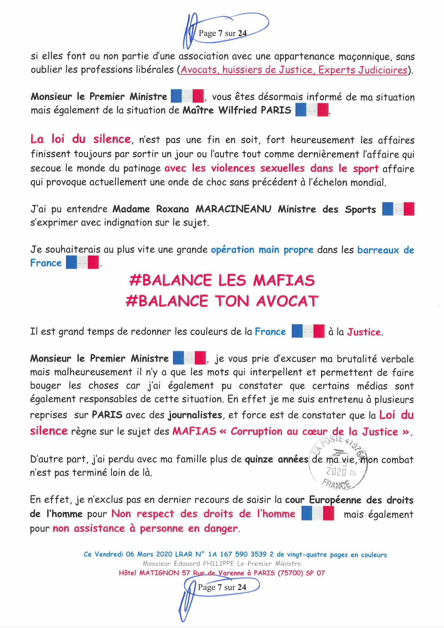 Ma LRAR à Monsieur le  Premier Ministre Edouard PHILIPPE N° 1A 167 590 3539 2 Page 7 sur 24 en Couleur du 06 Mars 2020  www.jesuispatrick.fr www.jesuisvictime.fr www.alerte-rouge-france.fr
