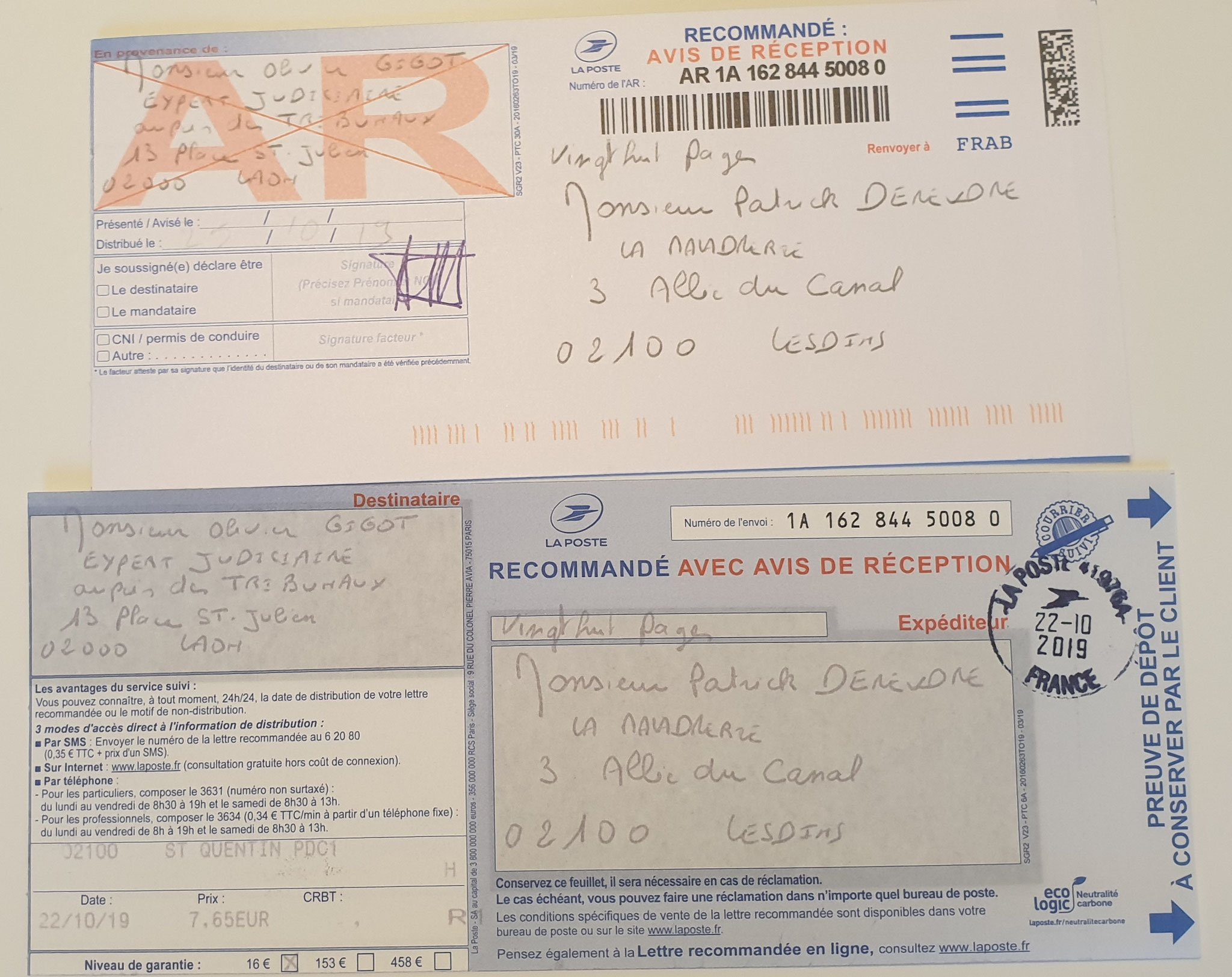 Ma Lettre recommandée à l'Expert Judiciaire mandaté par le Tribunal de Grande Instance de Saint-Quentin Du 16 Octobre 2019 adressé à Monsieur l'Expert Judiciaire Olivier GIGOT soit vingt huit pages en couleurs
