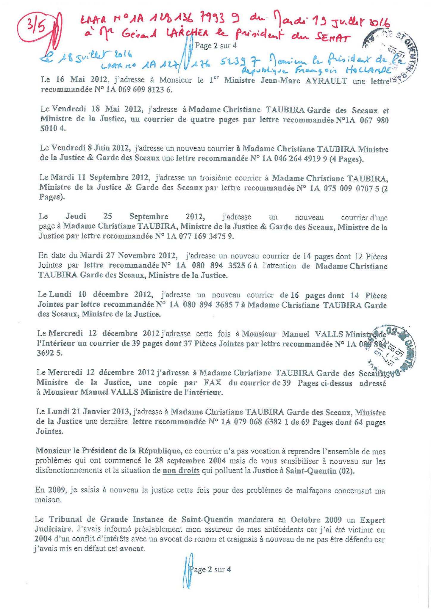LRAR du 19 Juillet 2016 à Monsieur Gérard LARCHER le Président du Sénat page 3 sur 5