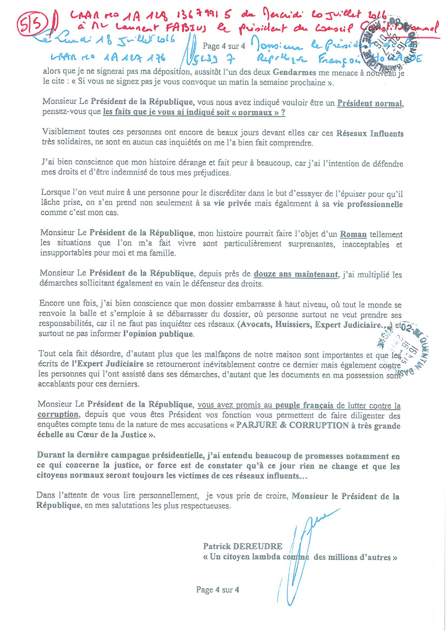 LRAR du 20 Juillet 2016 à Monsieur Laurent FABIUS le Président du Conseil Constitutionnel page 5 à 5 www.maisonnonconforme.fr