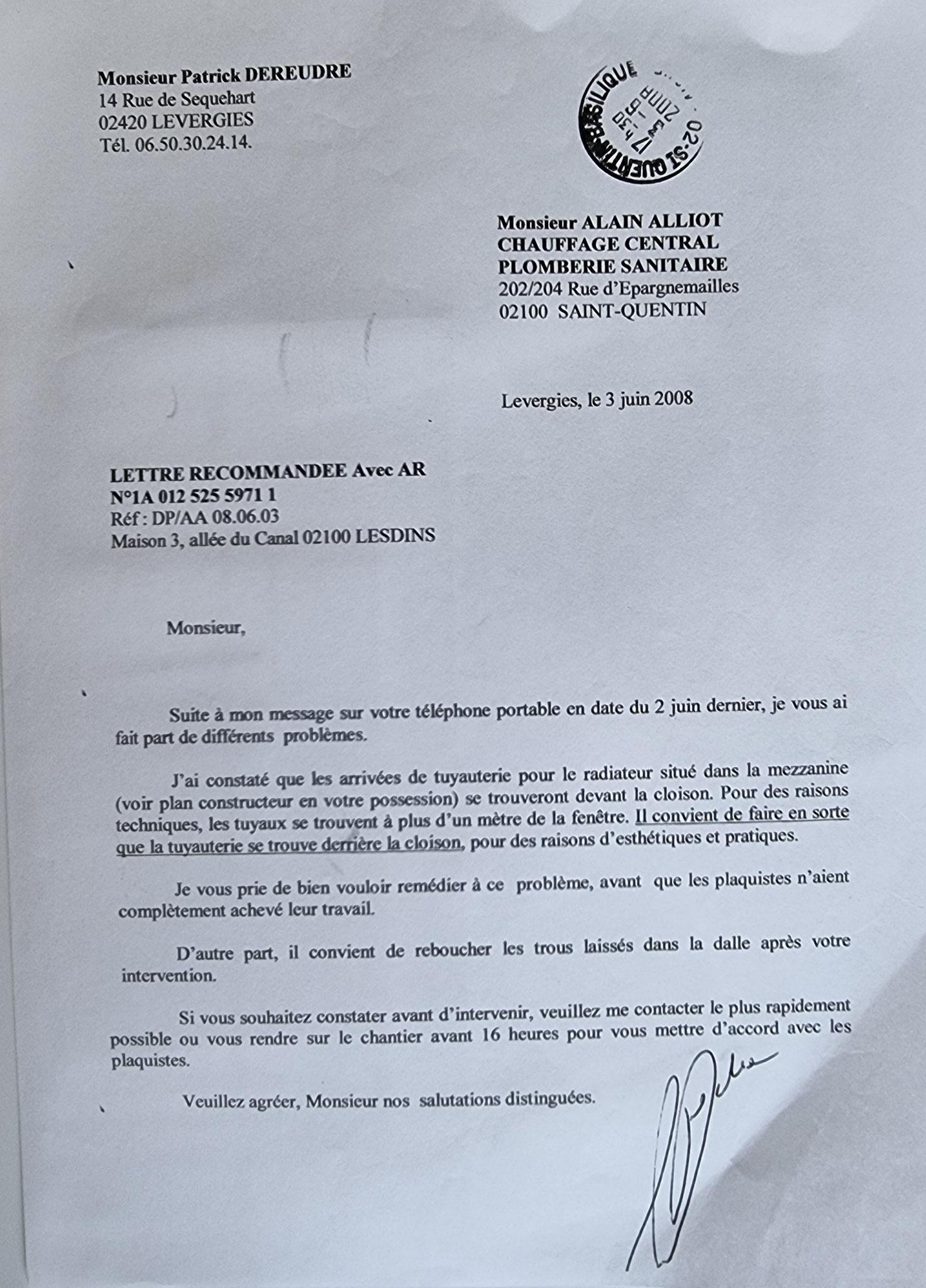 Le 03 Juin 2008 j'adresse une LRAR à Monsieur Alain ALLIOT.     INACCEPTABLE  BORDERLINE      EXPERTISES JUDICIAIRES ENTRE COPAINS...  www.jenesuispasunchien.fr www.jesuispatrick.fr www.jesuisvictime.fr