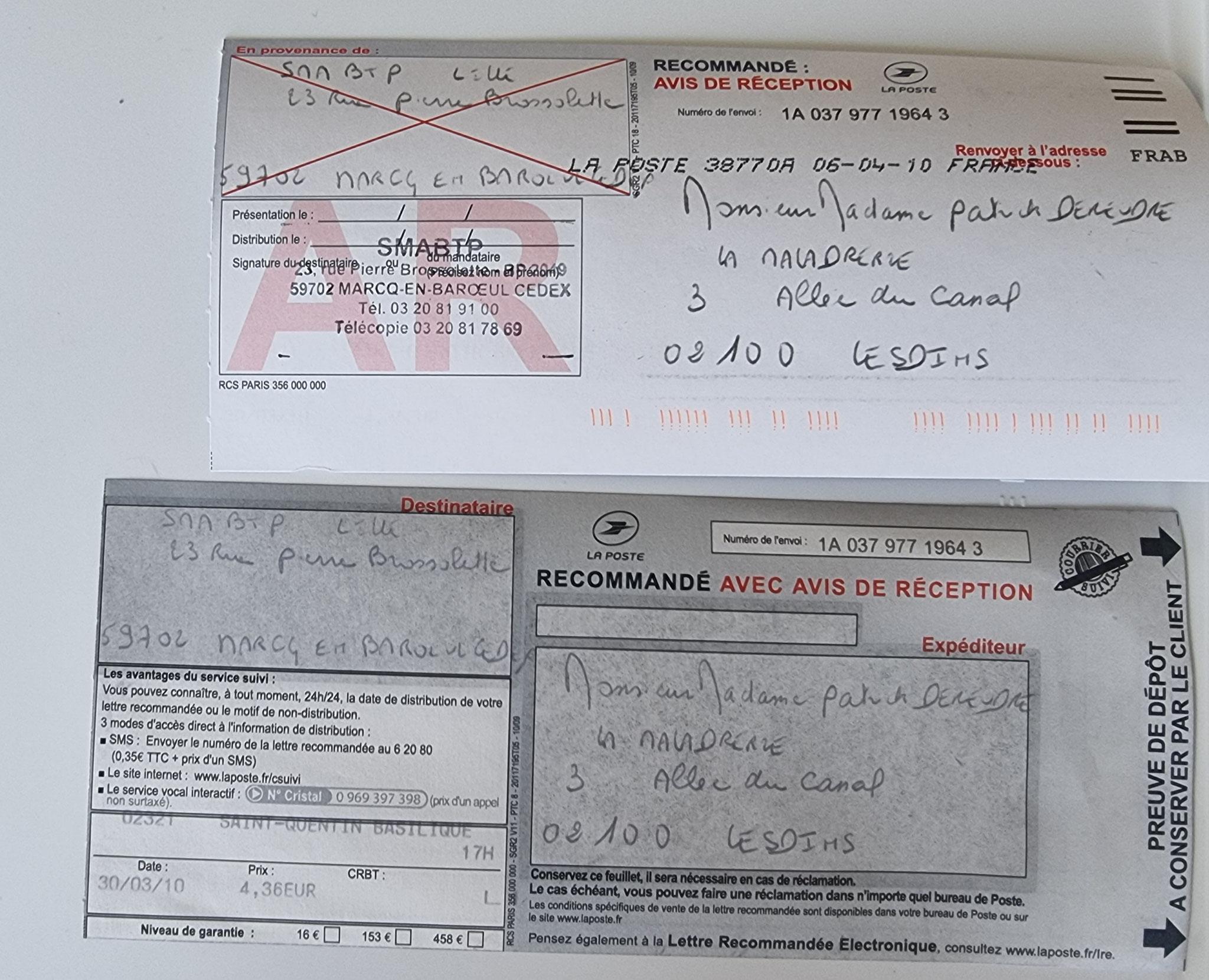 Le 30 Mars 2010 j'adresse une LRAR à la SMABTP à Marcq-En-Baroeul la dommage  LE BATISSEUR  BORDERLINE EXPERTISES JUDICIAIRES ENTRE COPAINS www.jesuispatrick.fr