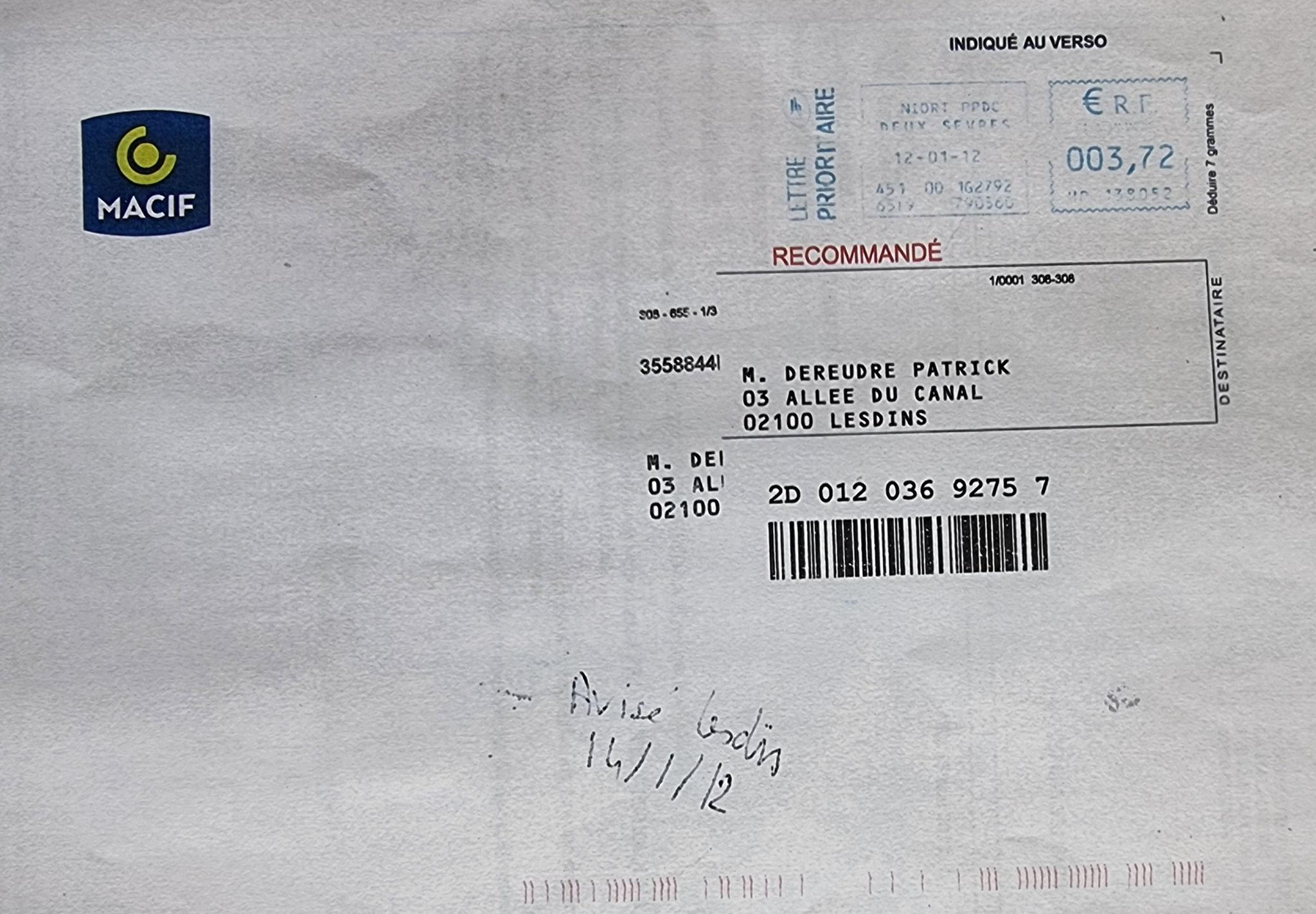 Le 12 Janvier 2012, notre cie d'Assurances La MACIF nous adresse une LRAR afin de résilier tous nos contrats. www.jenesuispasunchien.fr www.jesuisvictime.fr www.jesuispatrick.fr
