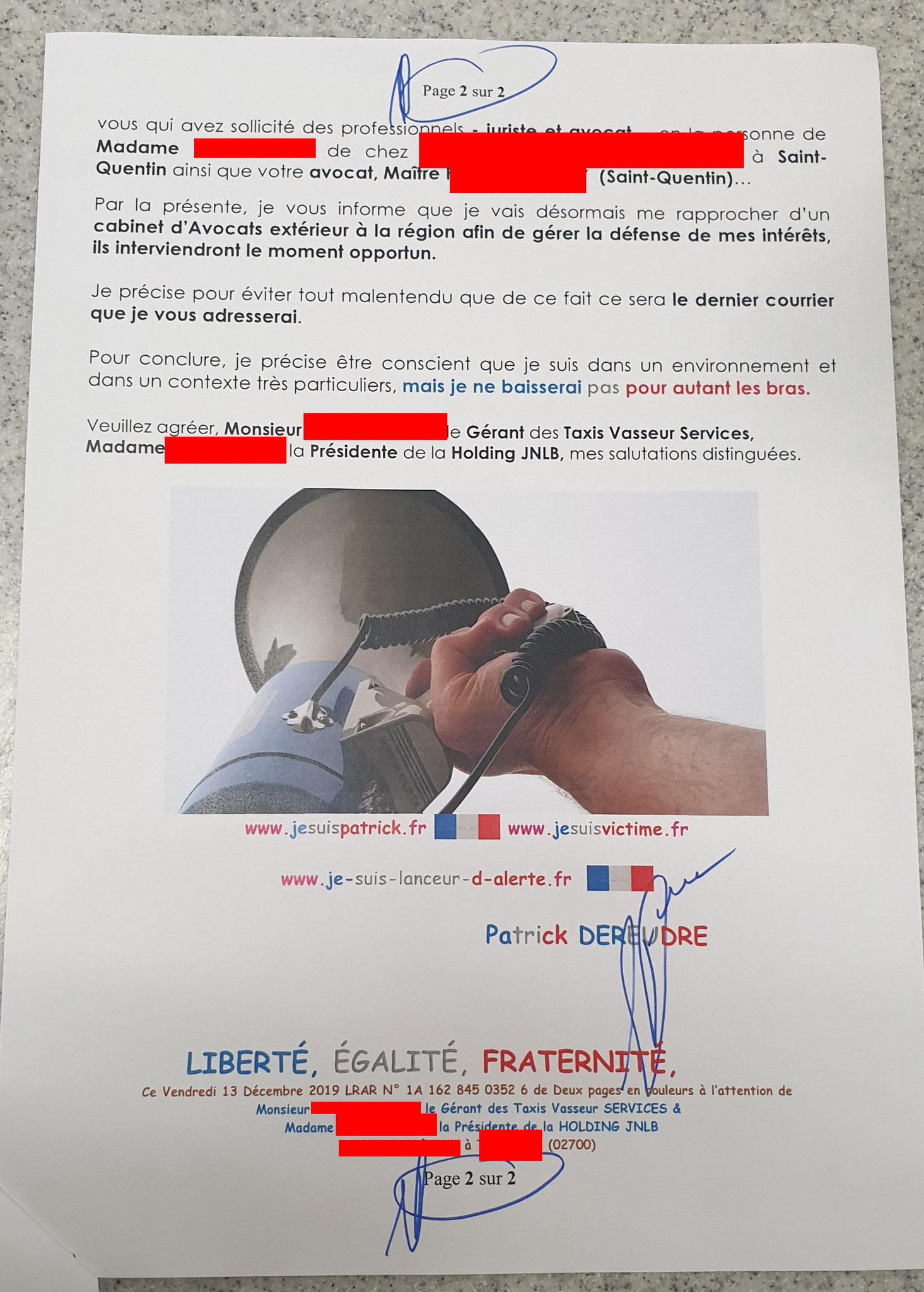 Ma cinquième lettre recommandée du 13 Décembre 2019 au TAXIS VASSEUR SERVICES & HOLDING JNLB// VIOLENCES & SOUFFRANCES AU TRAVAIL (MOBBING & GANG STAKLING) www.jenesuispasunchien.fr www.jesuisvictime.fr www.jesuispatrick.fr