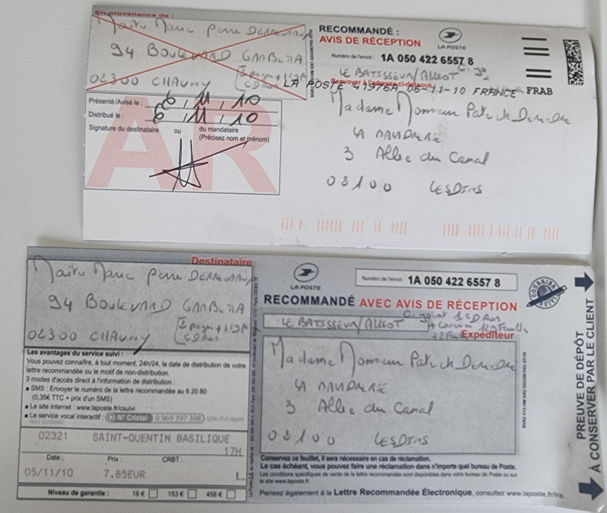Le 05 novembre 2010 j'adresse une LRAR à Maître Marie-Pierre DEREUMAUX Avocate à Chauny.    TOUT L'ART de la Manipulation...    INACCEPTABLE  BORDERLINE   EXPERTISES JUDICIAIRES ENTRE COPAINS...  www.jenesuispasunchien.fr www.jesuispatrick.fr