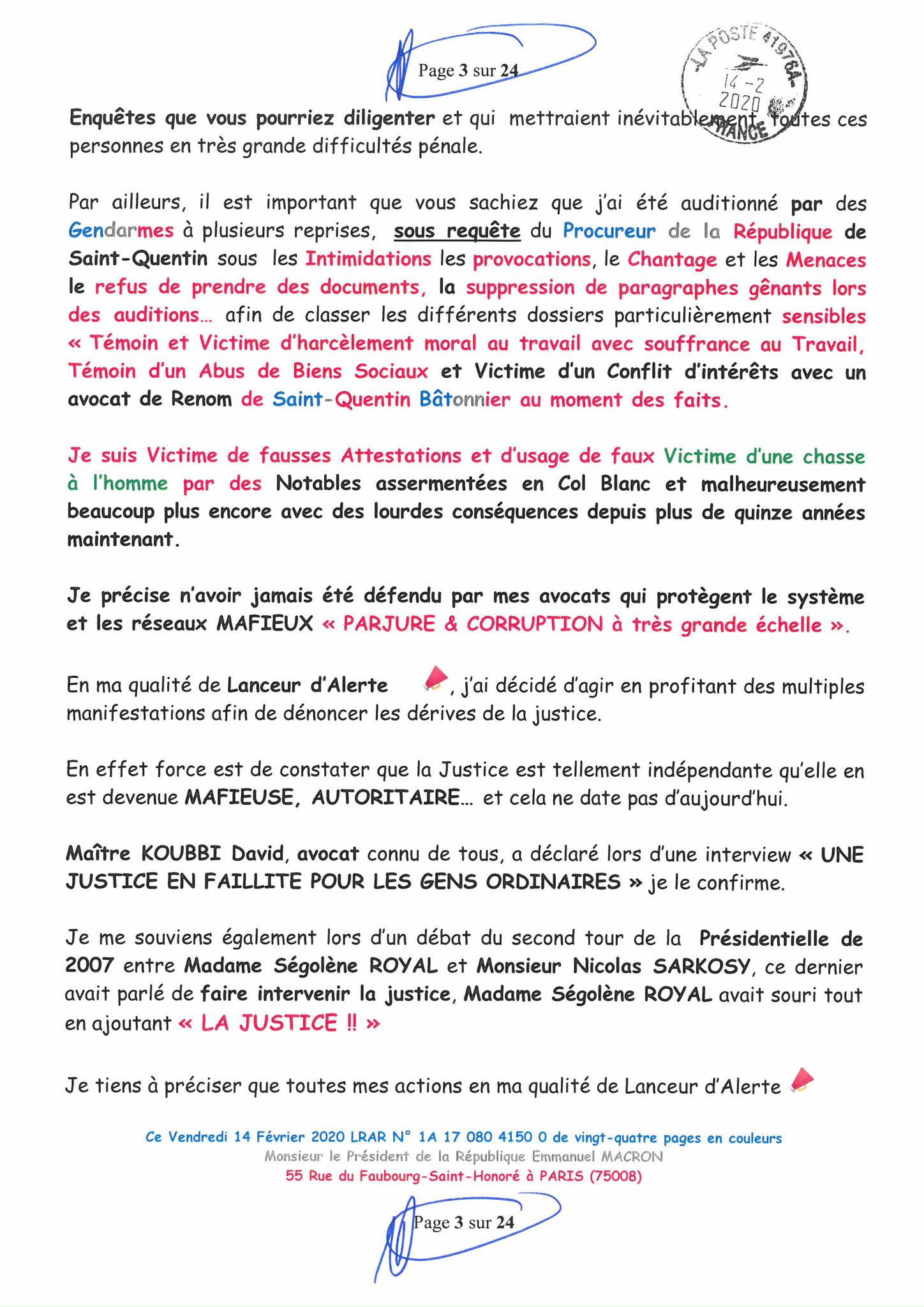 Ma lettre recommandée du 14 Février 2020 N° 1A 178 082 4150 0  page 3 sur 24 en couleur que j'ai adressé à Monsieur Emmanuel MACRON le Président de la République www.jesuispatrick.fr www.jesuisvictime.fr www.alerte-rouge-france.fr