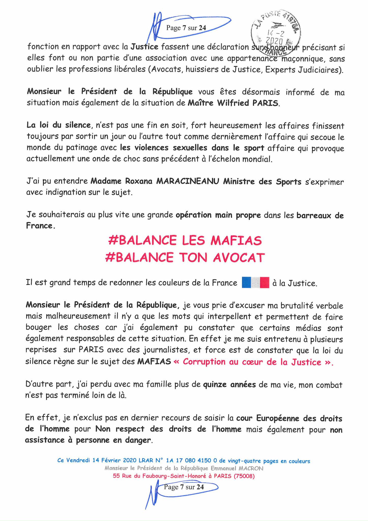 Ma lettre recommandée du 14 Février 2020 N° 1A 178 082 4150 0  page 7 sur 24 en couleur que j'ai adressé à Monsieur Emmanuel MACRON le Président de la République www.jesuispatrick.fr