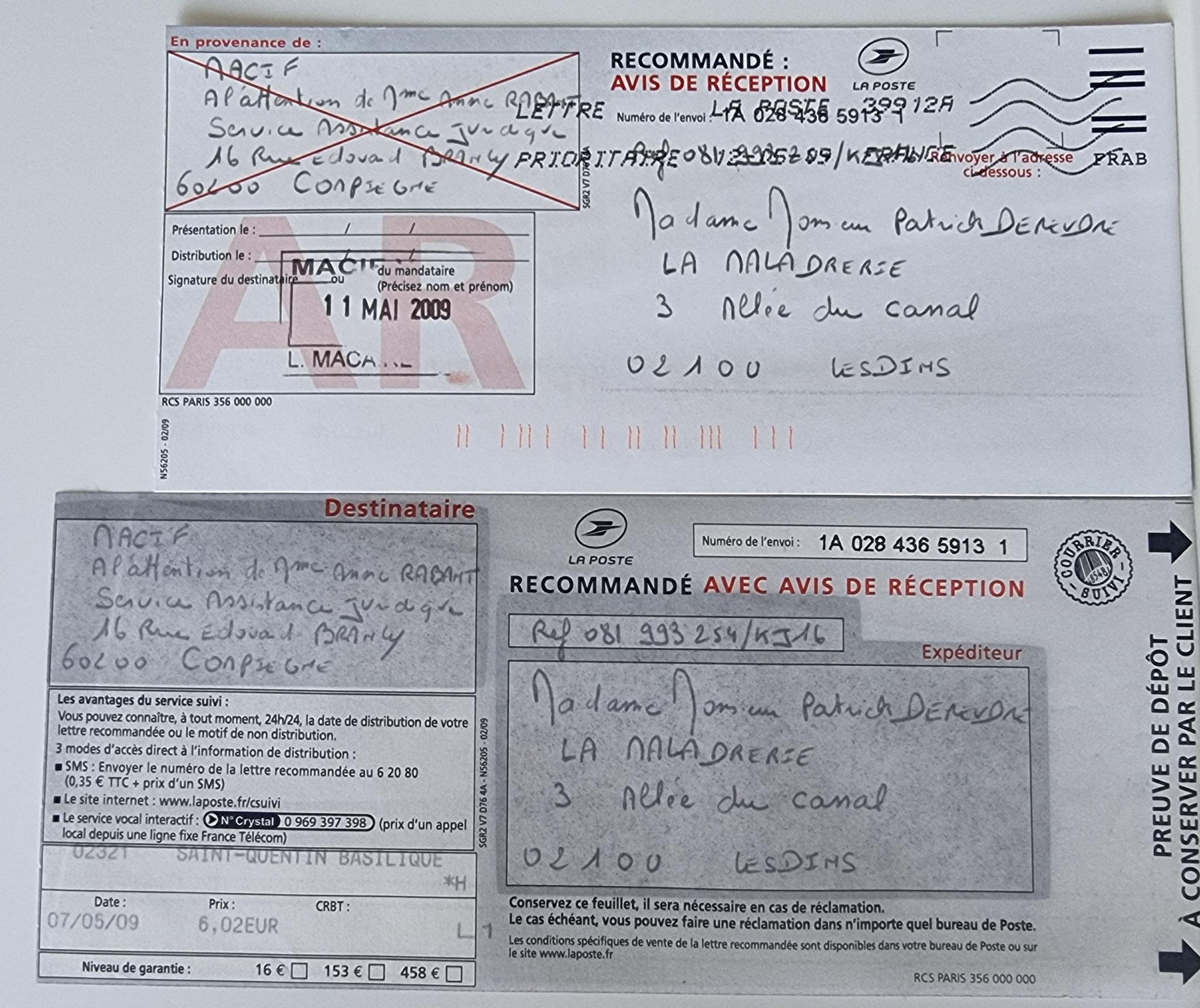 Le 07 Mai 2009 j'adresse une LRAR à la MACIF.  Concernant la fuite de GAZ sur l'installation chauffage Alain ALLIOT.     INACCEPTABLE  BORDERLINE      EXPERTISES JUDICIAIRES ENTRE COPAINS... www.jesuispatrick.fr