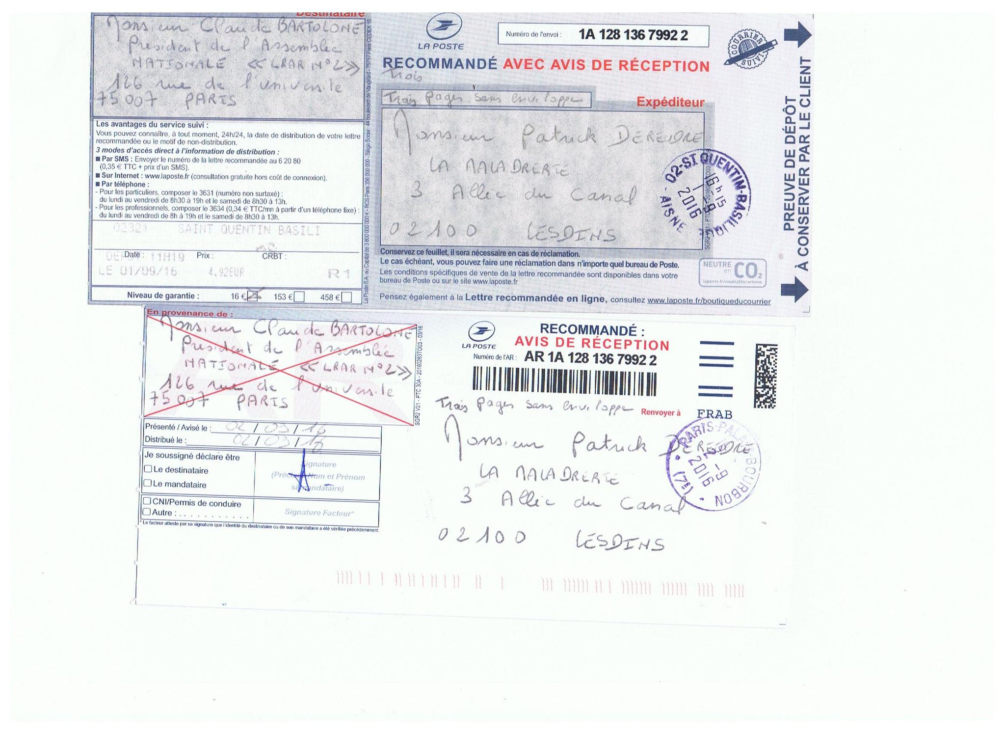 LRAR du 01 Septembre  2016 N°1A 128 136 7992 2 à  Monsieur le Président de l'Assemblée Nationale Commission d'Enquête Parlementaire site www.jesuispatrick.fr