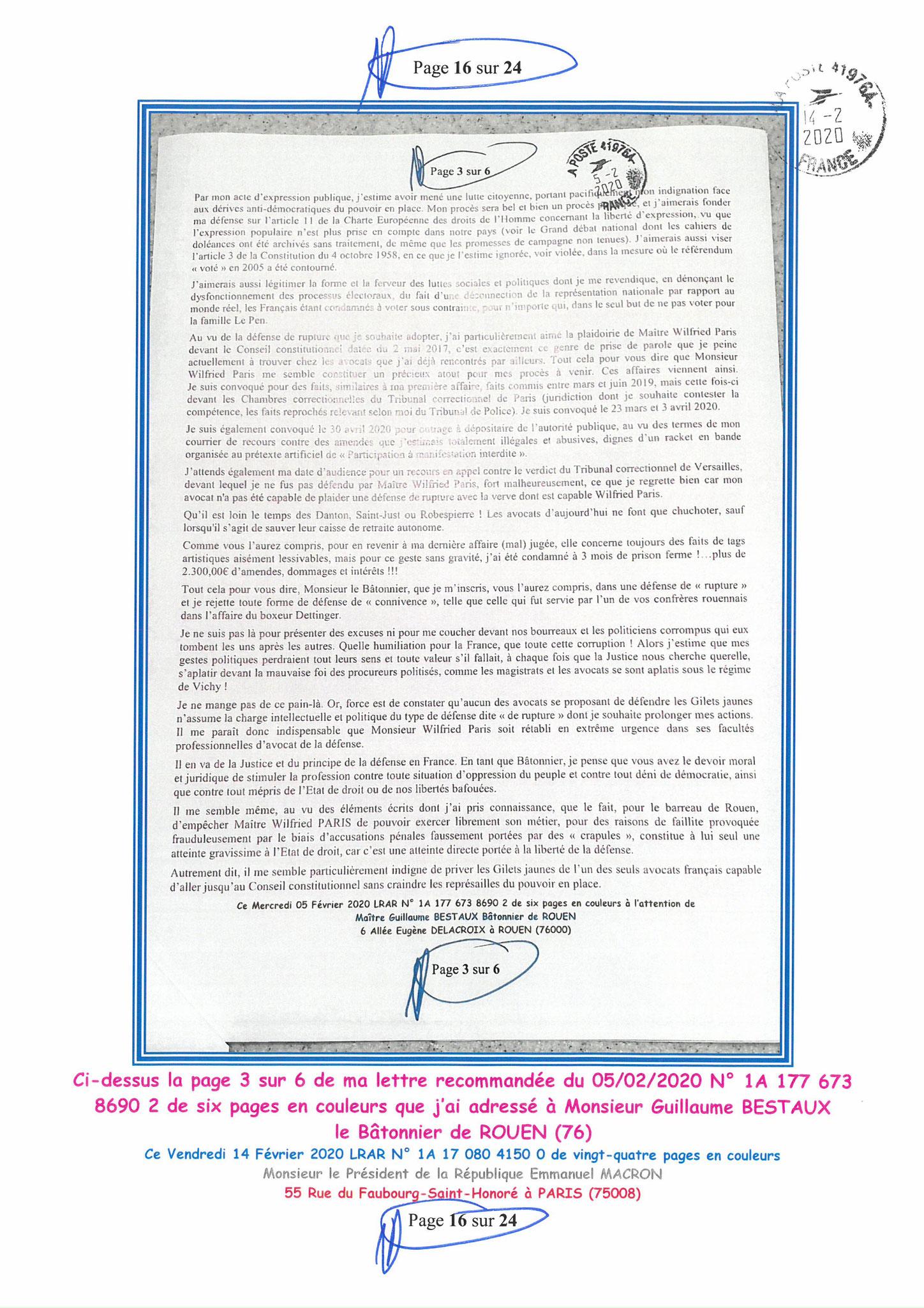Ma lettre recommandée du 14 Février 2020 N° 1A 178 082 4150 0  page 16 sur 24 en couleur que j'ai adressé à Monsieur Emmanuel MACRON le Président de la République www.jesuispatrick.fr