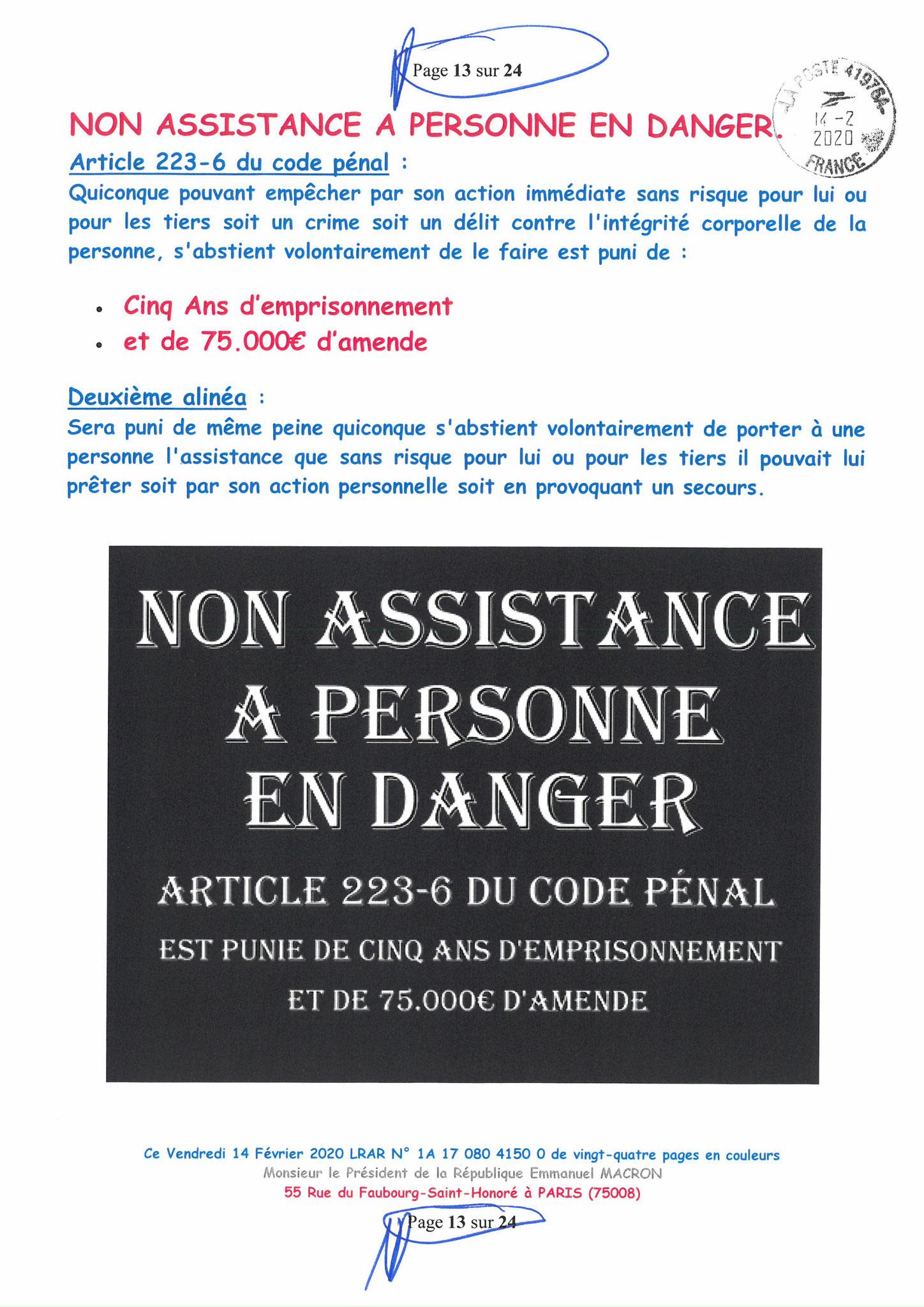 Ma lettre recommandée du 14 Février 2020 N° 1A 178 082 4150 0  page 13 sur 24 en couleur que j'ai adressé à Monsieur Emmanuel MACRON le Président de la République www.jesuispatrick.fr