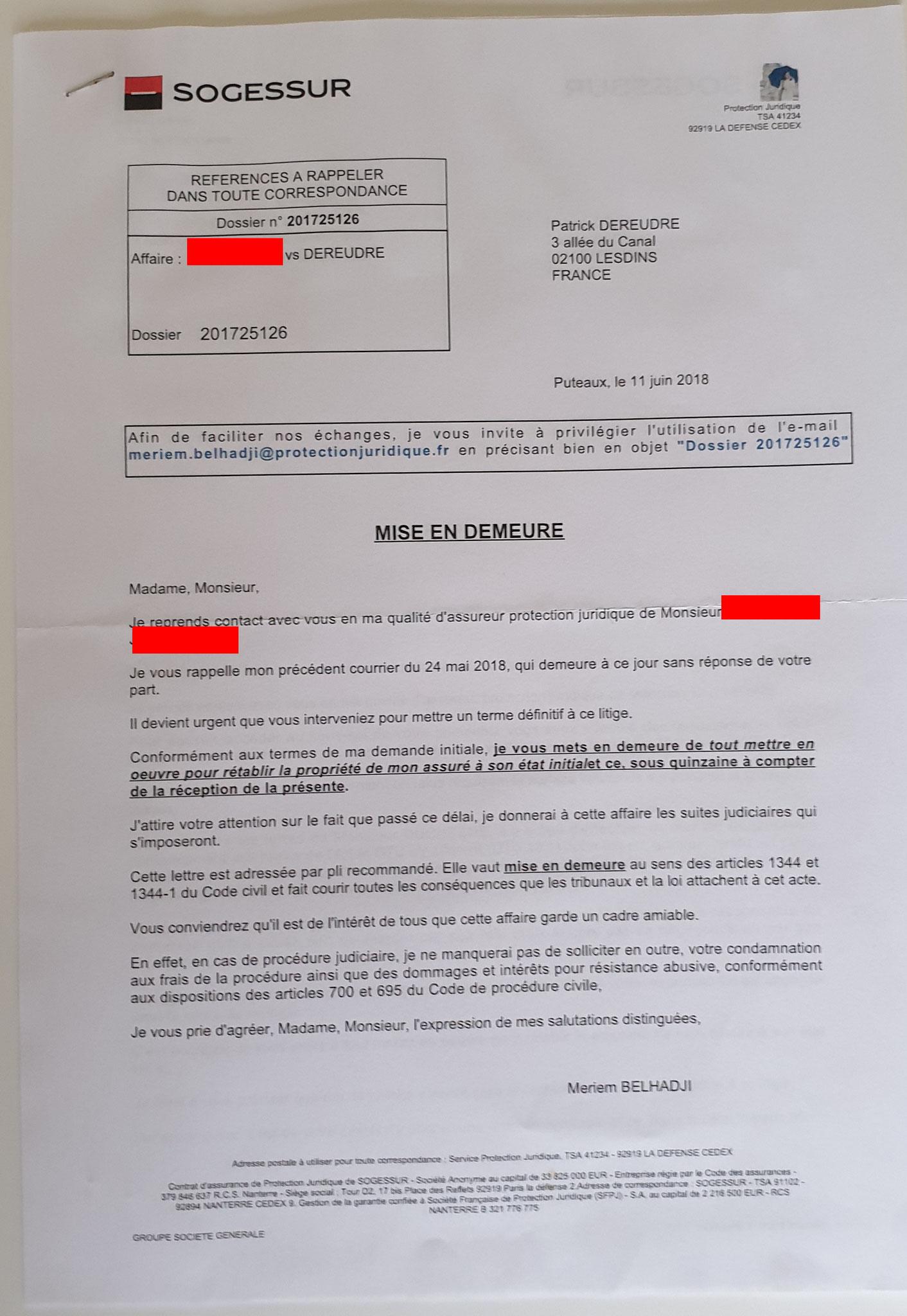 AFFAIRE NOS CHERS VOISINS  Du 11 Juin 2018  simple lettre (Une page Recto verso) www.jesuisvictime.fr www.jesuispatrick.fr www.jenesuispasunchien.fr PARJURE & CORRUPTION