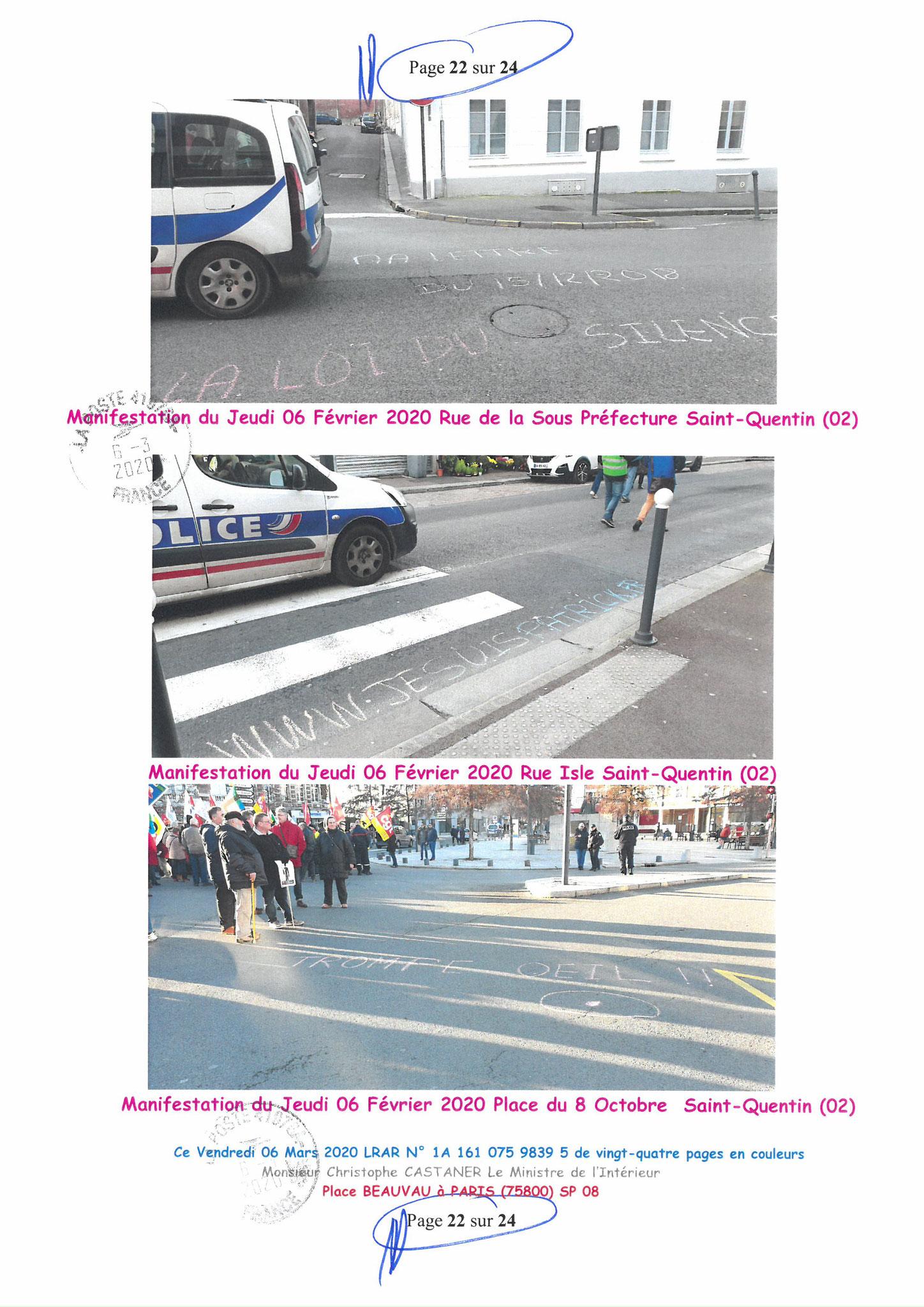 Ma LRAR à Monsieur le Ministre de l'Intérieur Christophe CASTANER N°1A 161 075 9839 5  Page 22 sur 24 en couleur du 06 Mars 2020  www.jesuispatrick.fr www.jesuisvictime.fr www.alerte-rouge-france.fr