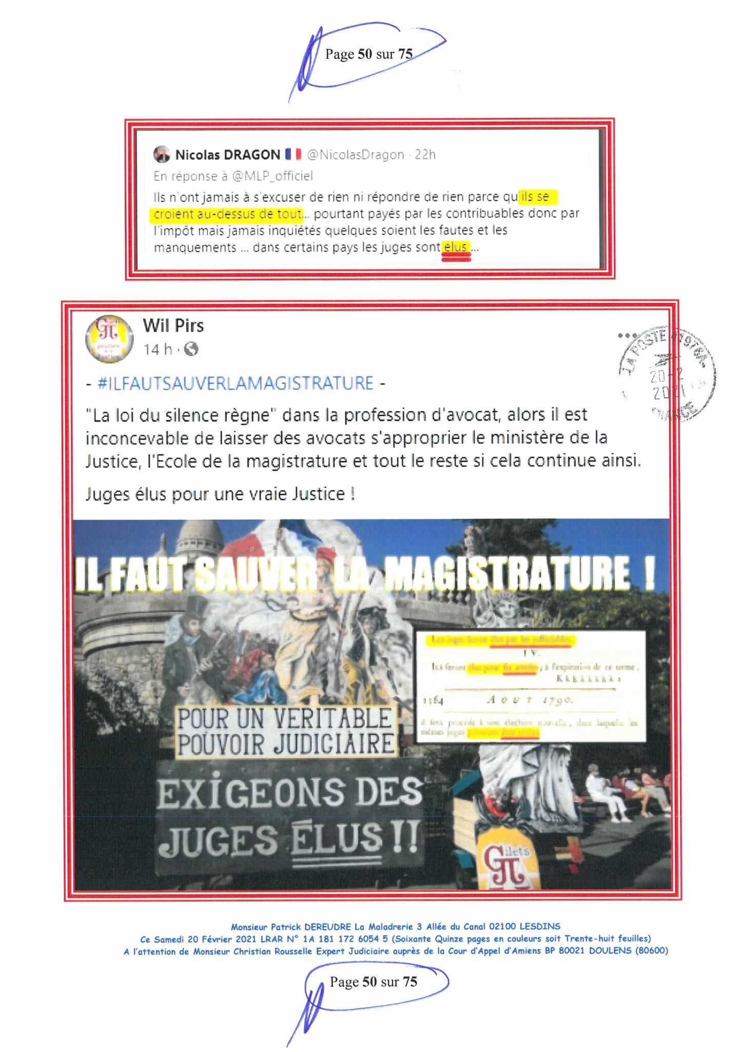Page 50 Ma  Lettre Recommandée à Monsieur Christian ROUSSELLE Expert Judiciaire auprès de la Cour d'Appel d'Amiens Affaire MES CHERS VOISINS nos  www.jenesuispasunchien.fr www.jesuisvictime.fr www.jesuispatrick.fr PARJURE & CORRUPTION JUSTICE REPUBLIQUE