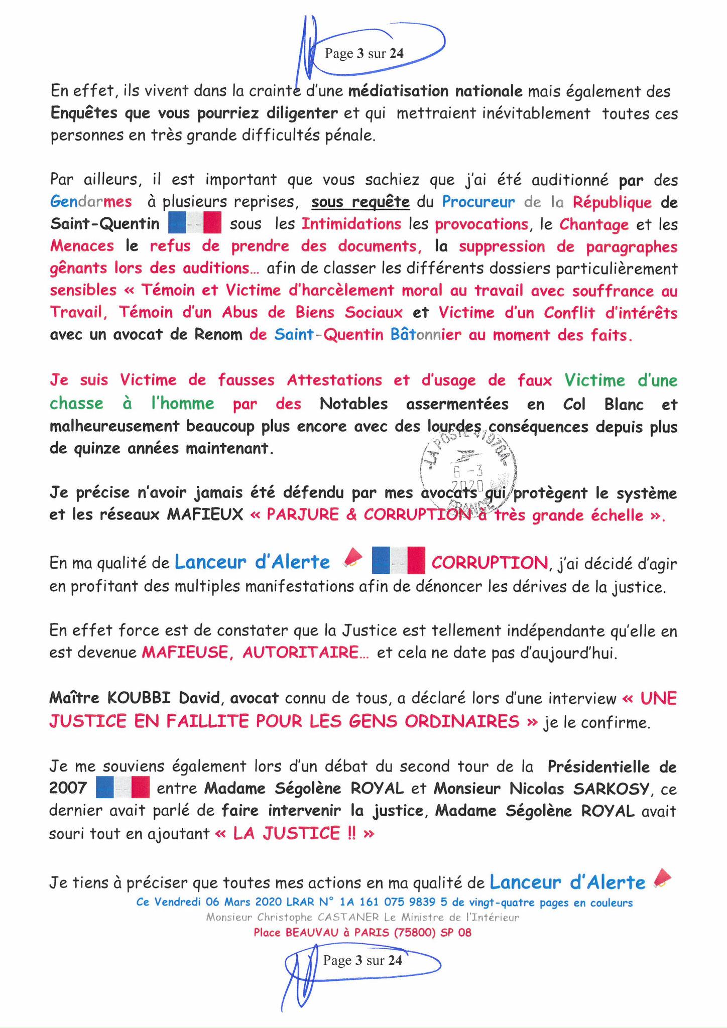 Ma LRAR à Monsieur le Ministre de l'Intérieur Christophe CASTANER N°1A 161 075 9839 5  Page 3 sur 24 en couleur du 06 Mars 2020  www.jesuispatrick.fr www.jesuisvictime.fr www.alerte-rouge-france.fr
