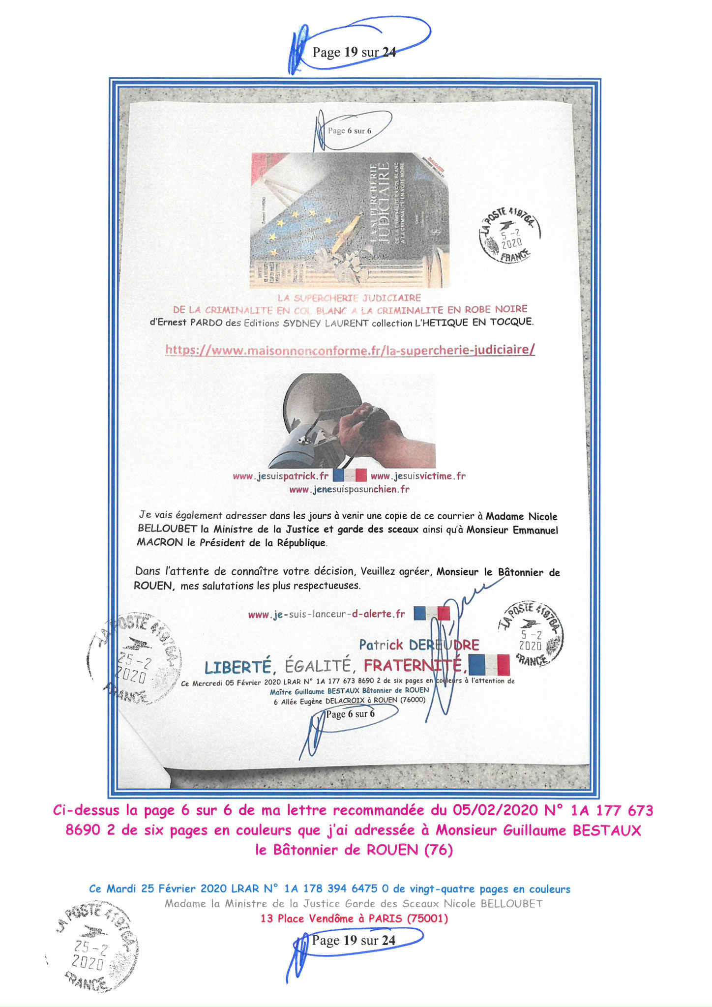 Ma LRAR à Madame Nicole BELLOUBET la Ministre de la Justice N0 1A 178 394 6475 0 Page 19 sur 24 en couleur  www.jesuispatrick.com www.jesuisvictime.fr www.alerte-rouge-france.fr