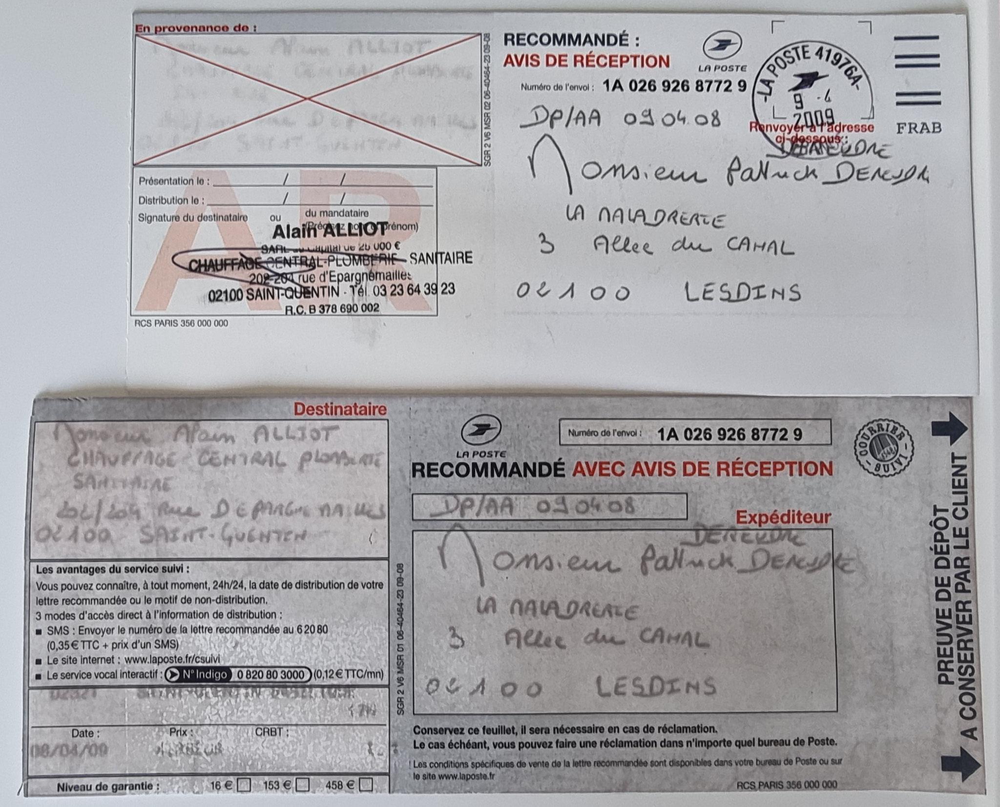 Le 08 Avril 2009 j'adresse une LRAR à Monsieur Alain ALLIOT.     INACCEPTABLE  BORDERLINE      EXPERTISES JUDICIAIRES ENTRE COPAINS...  www.jenesuispasunchien.fr www.jesuispatrick.fr