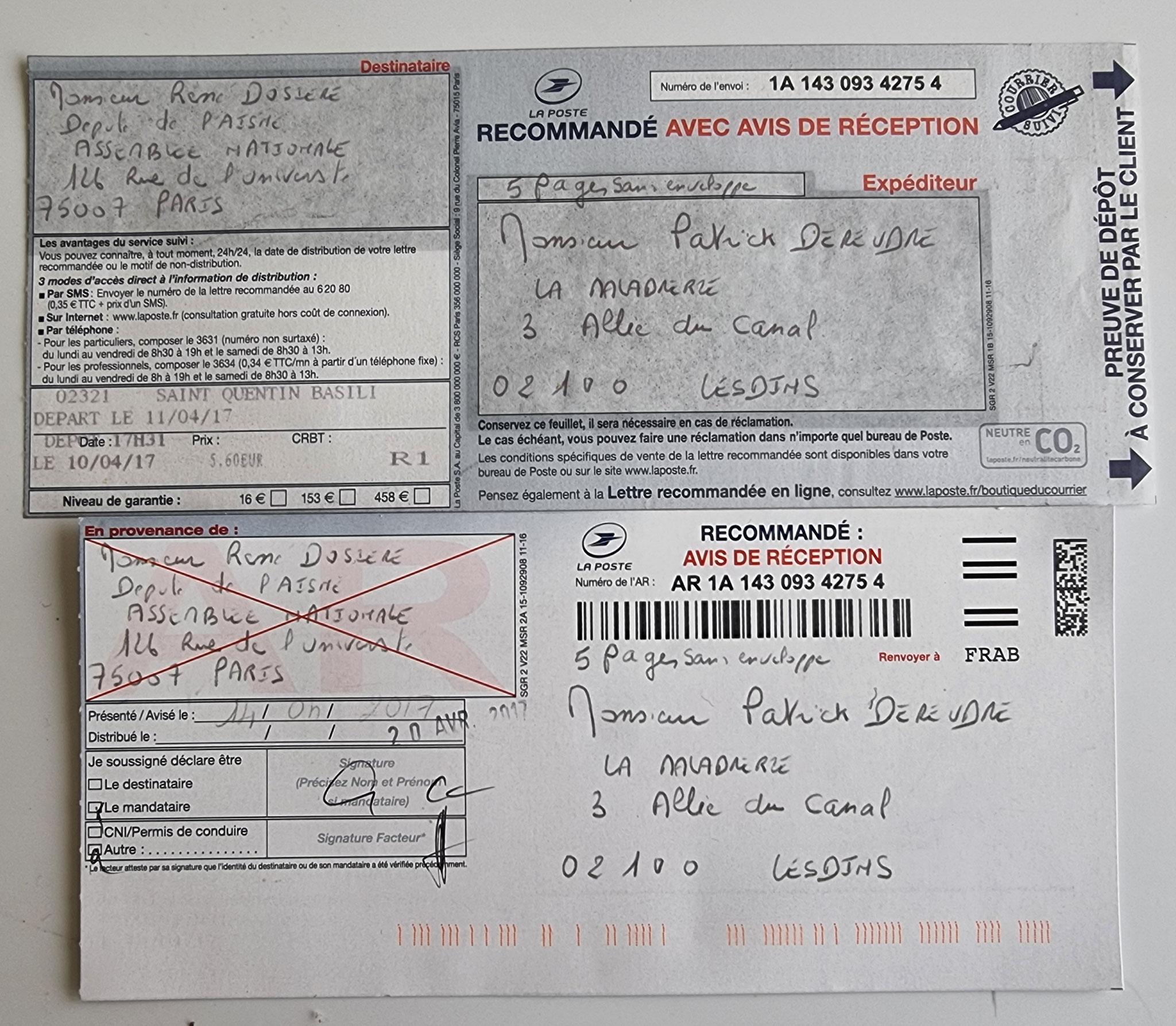 Ma lettre recommandée du 10 Avril 2017 N° 1A 143 093 4275 4  adressée à Monsieur le Député de l'Aisne à LAON (02) Monsieur René DOSIERE NON ASSISTANCE A PERSONNE EN DANGER www.jesuispatrick.fr www.jesuisvictime.fr www.jenesuispasunchien.fr
