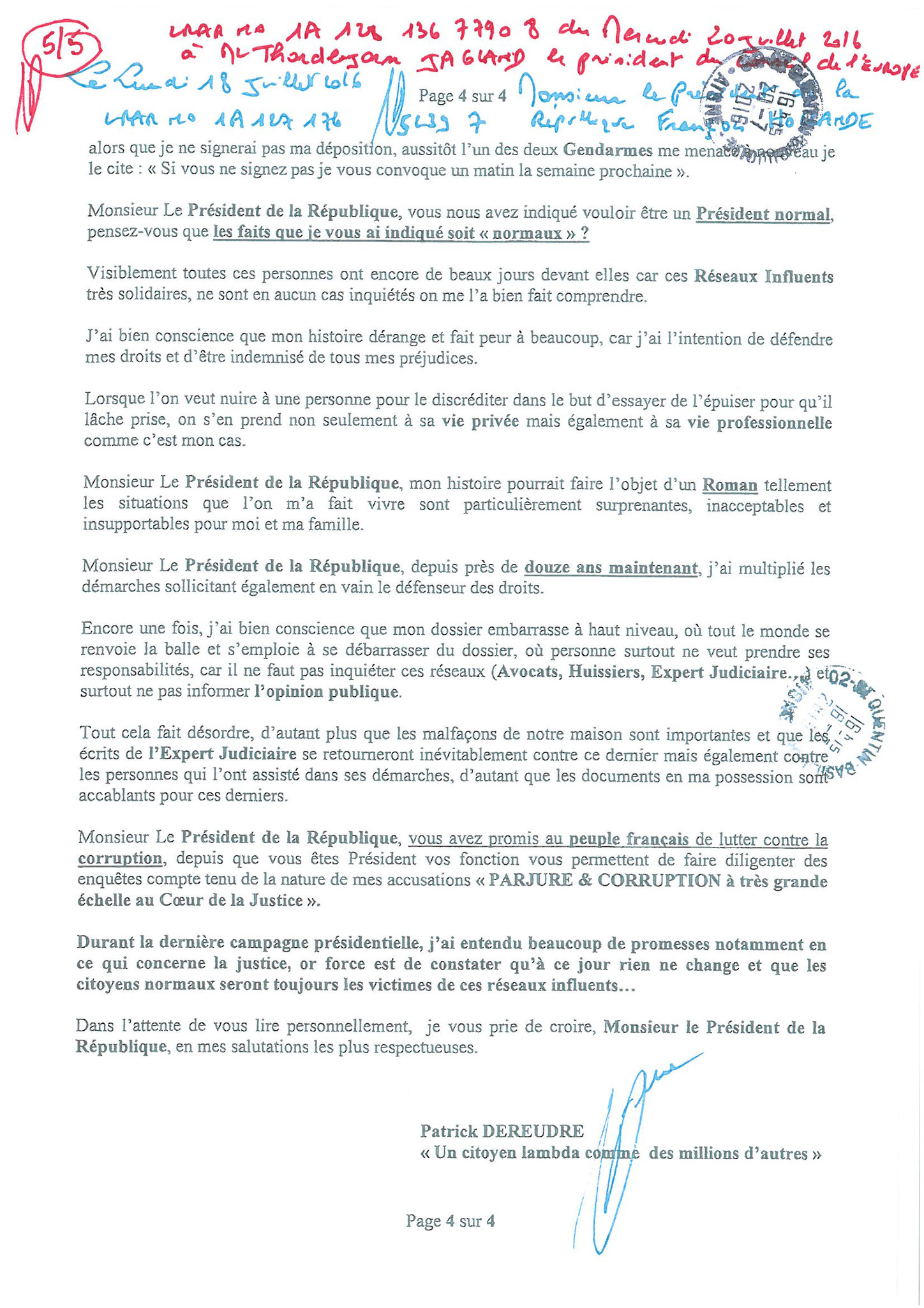LRAR du 20 Juillet 2016 à Monsieur Thordjorn JAGLAND le Secrétaire Général du Conseil de l'Europe page 5 sur 5