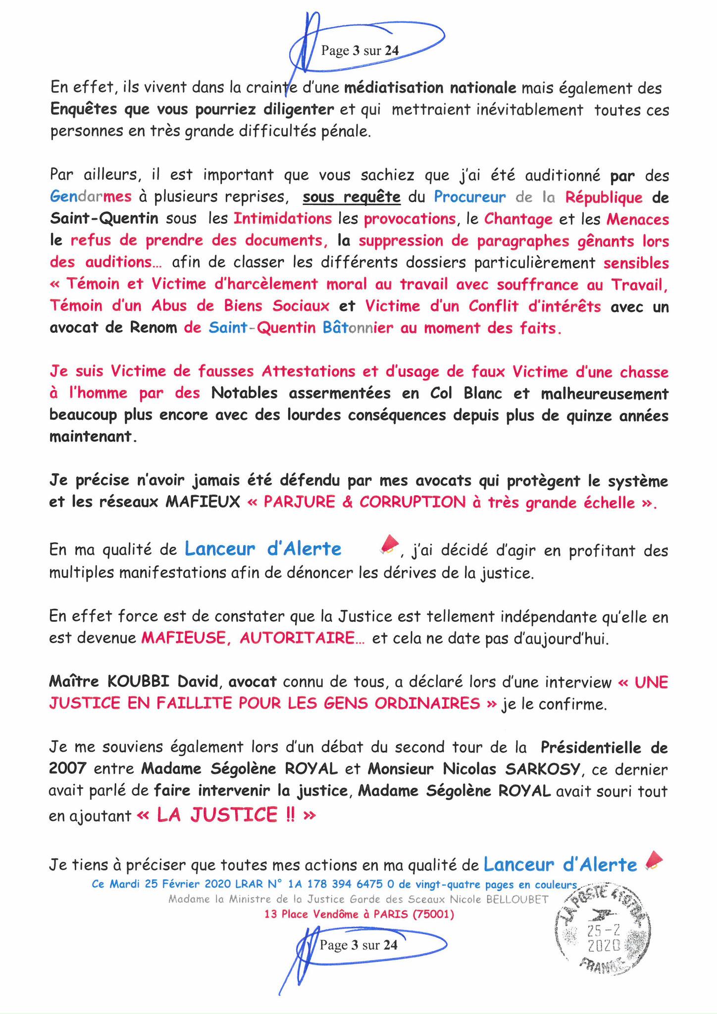 Ma LRAR à Madame Nicole BELLOUBET la Ministre de la Justice N0 1A 178 394 6475 0 Page 3 sur 24 en couleur  www.jesuispatrick.com www.jesuisvictime.fr www.alerte-rouge-france.fr