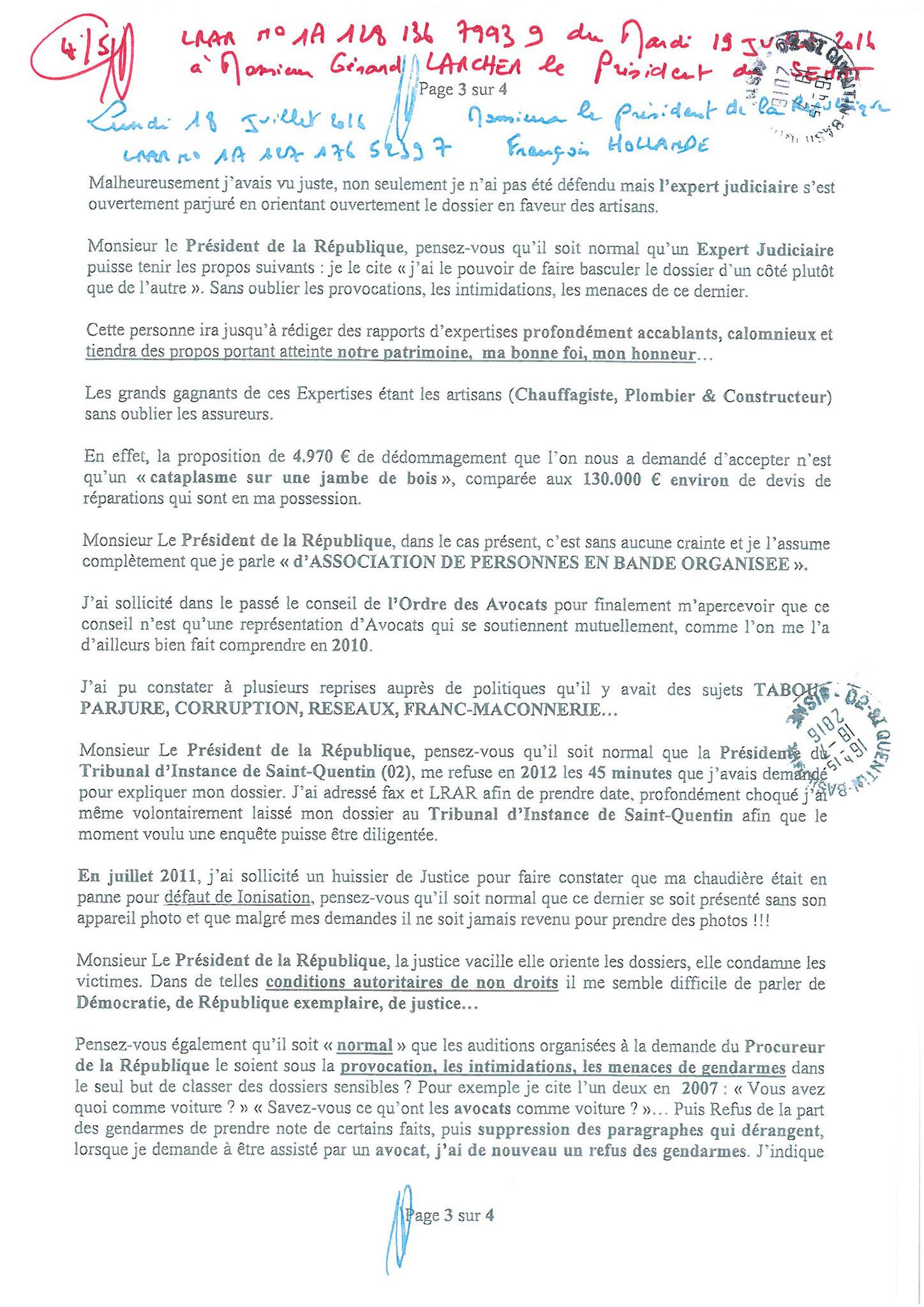 LRAR du 19 Juillet 2016 à Monsieur Gérard LARCHER le Président du Sénat page 4 sur 5