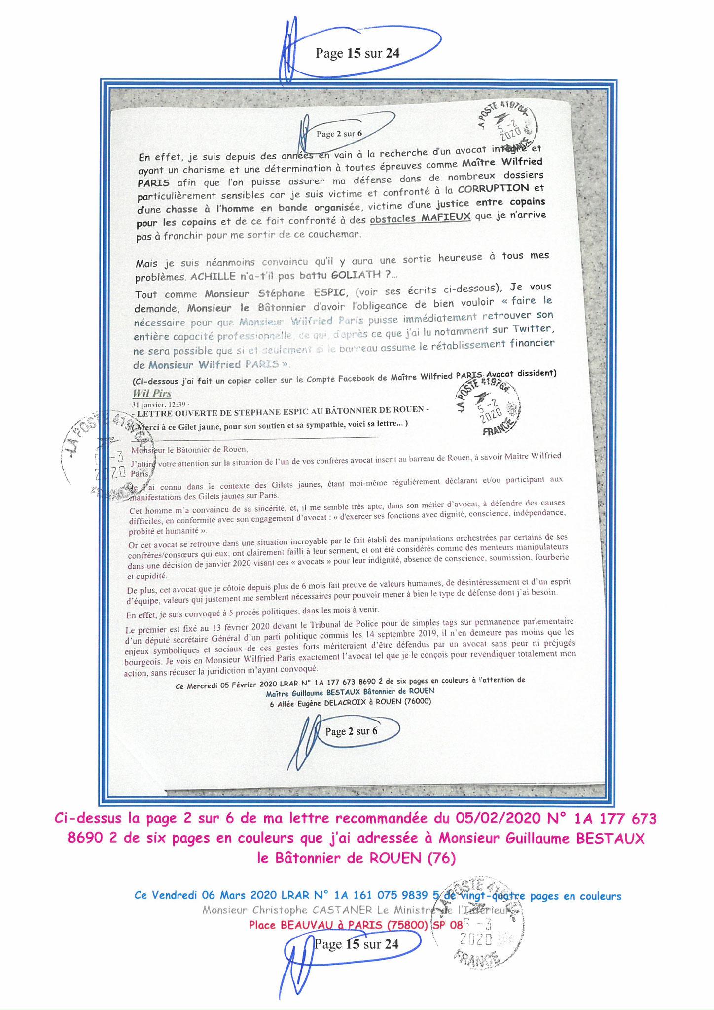 Ma LRAR à Monsieur le Ministre de l'Intérieur Christophe CASTANER N°1A 161 075 9839 5  Page 15 sur 24 en couleur du 06 Mars 2020  www.jesuispatrick.fr