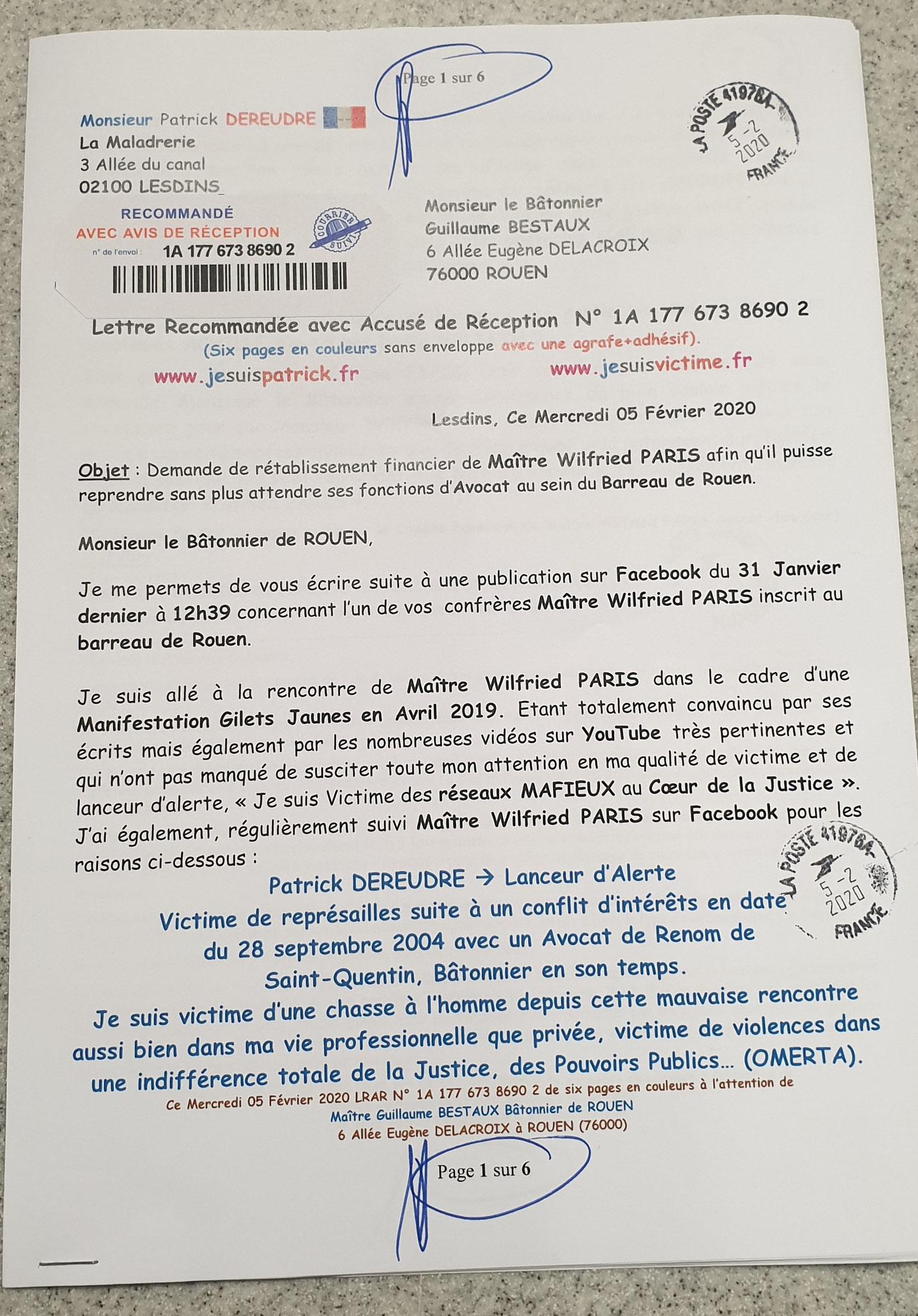 Ma lettre recommandée du 05 Février 2020 N° 1A 177 673 8690 2 Page 1 sur 6 en couleurs www.jesuispatrick.fr www.jesuisvictime.fr www.alerte-rouge-france.fr
