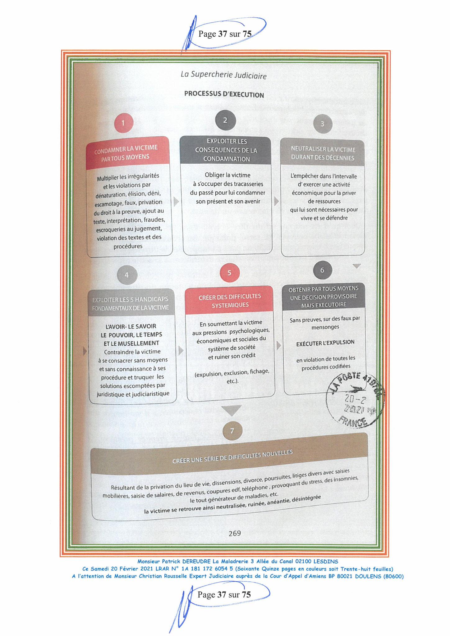 Page 37 Ma  Lettre Recommandée à Monsieur Christian ROUSSELLE Expert Judiciaire auprès de la Cour d'Appel d'Amiens Affaire MES CHERS VOISINS nos  www.jenesuispasunchien.fr www.jesuisvictime.fr www.jesuispatrick.fr PARJURE & CORRUPTION JUSTICE REPUBLIQUE