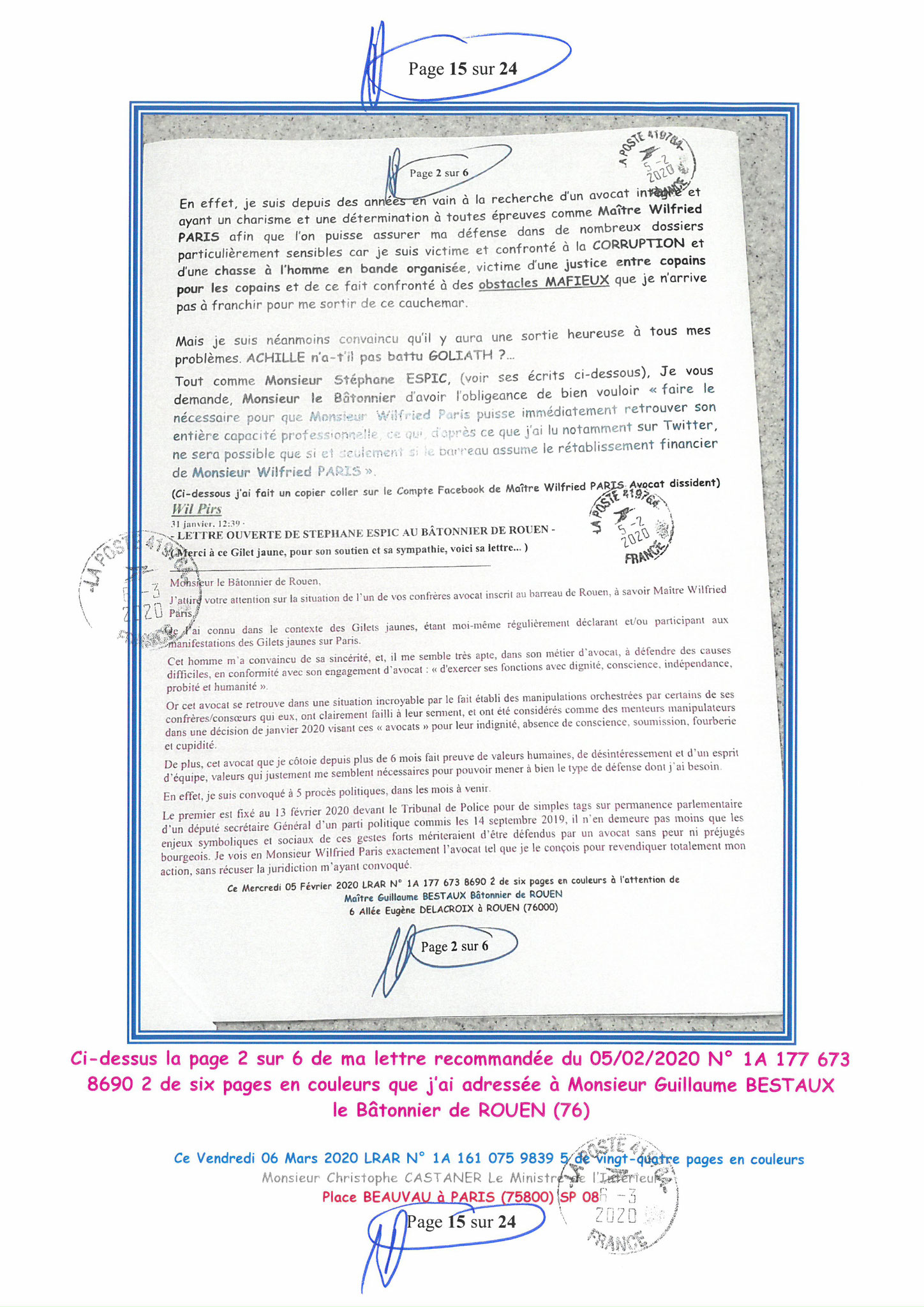 Ma LRAR à Monsieur le Ministre de l'Intérieur Christophe CASTANER N°1A 161 075 9839 5  Page 15 sur 24 en couleur du 06 Mars 2020  www.jesuispatrick.fr www.jesuisvictime.fr www.alerte-rouge-france.fr