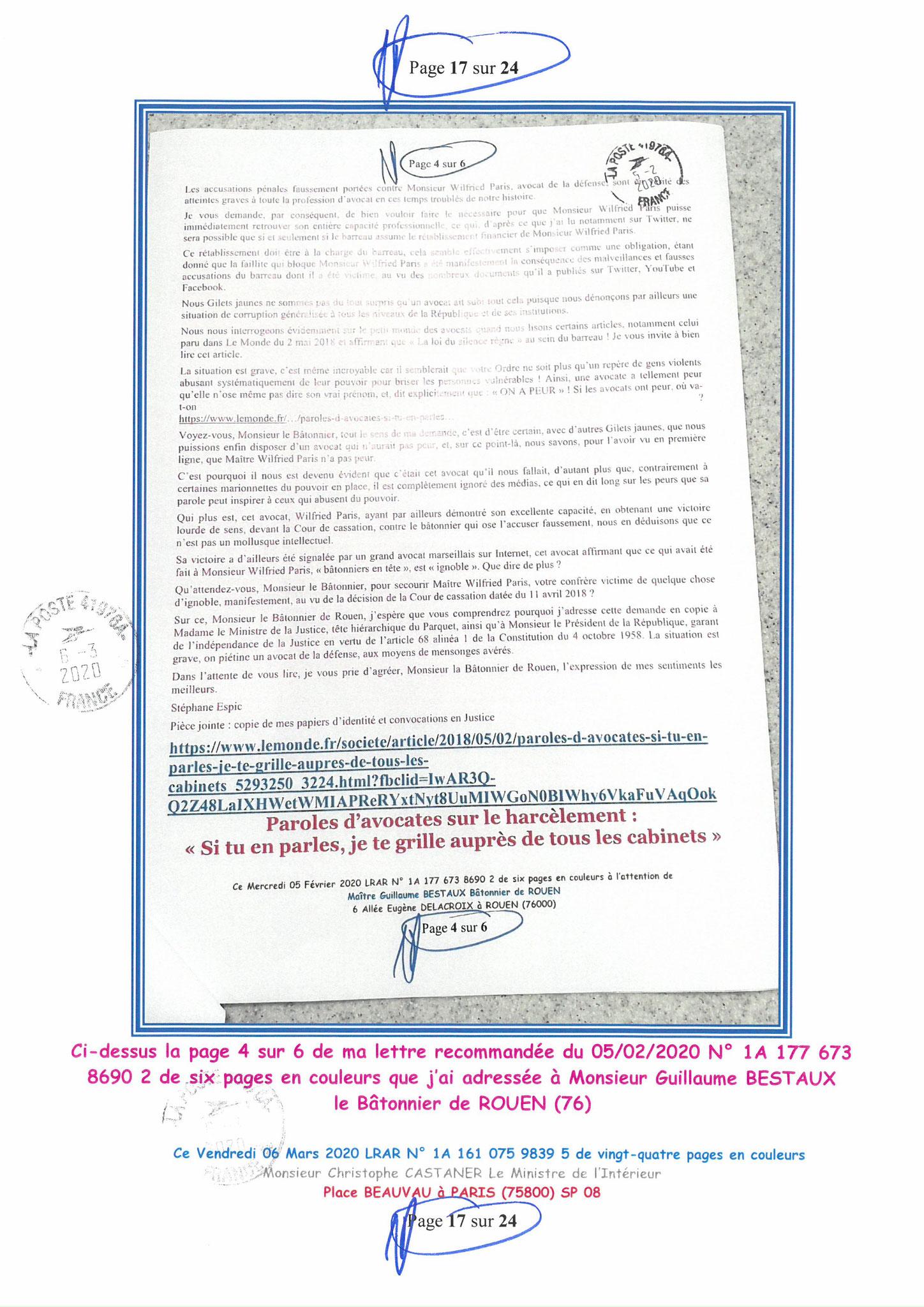 Ma LRAR à Monsieur le Ministre de l'Intérieur Christophe CASTANER N°1A 161 075 9839 5  Page 17 sur 24 en couleur du 06 Mars 2020  www.jesuispatrick.fr