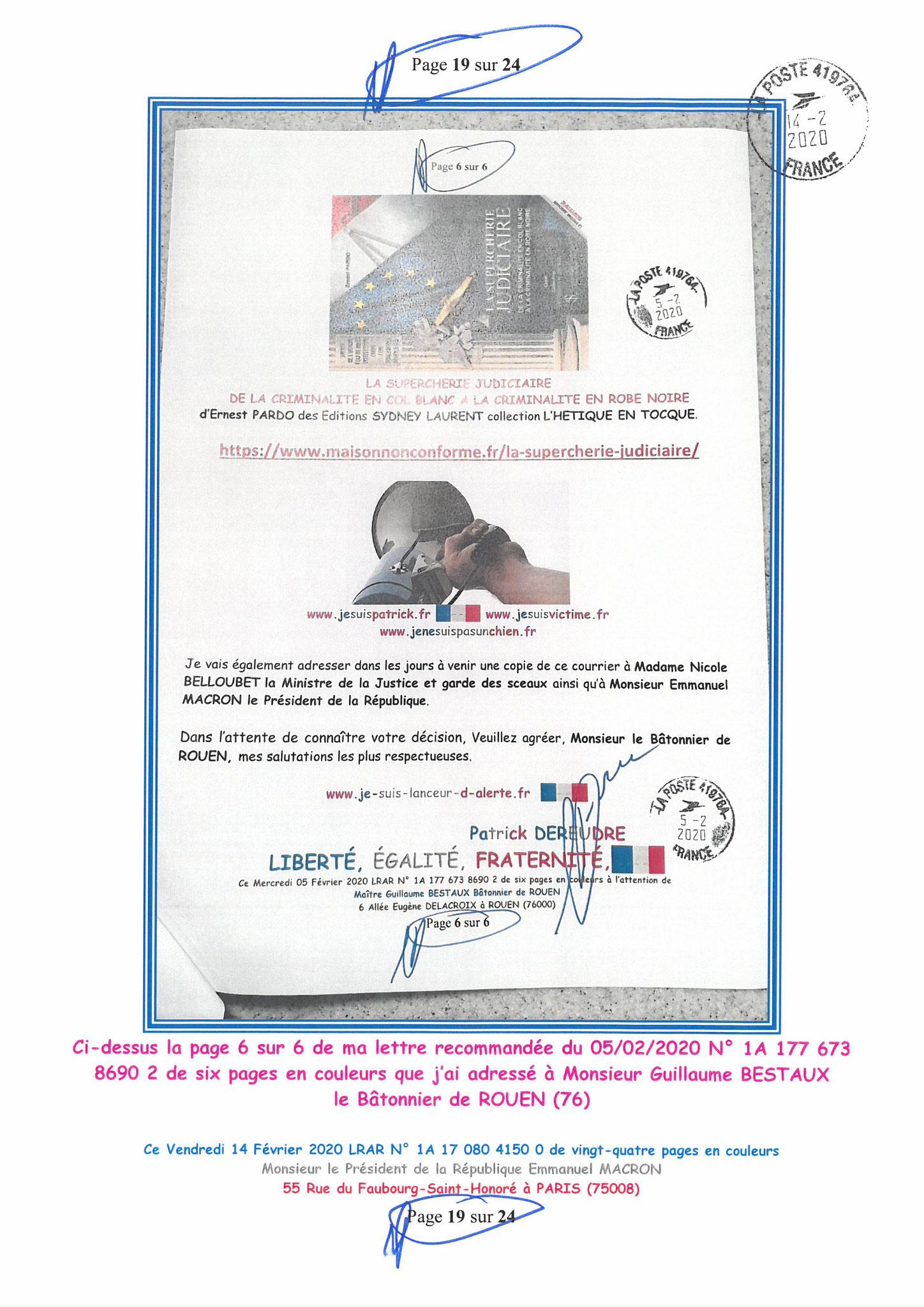 Ma lettre recommandée du 14 Février 2020 N° 1A 178 082 4150 0  page 19 sur 24 en couleur que j'ai adressé à Monsieur Emmanuel MACRON le Président de la République www.jesuispatrick.fr