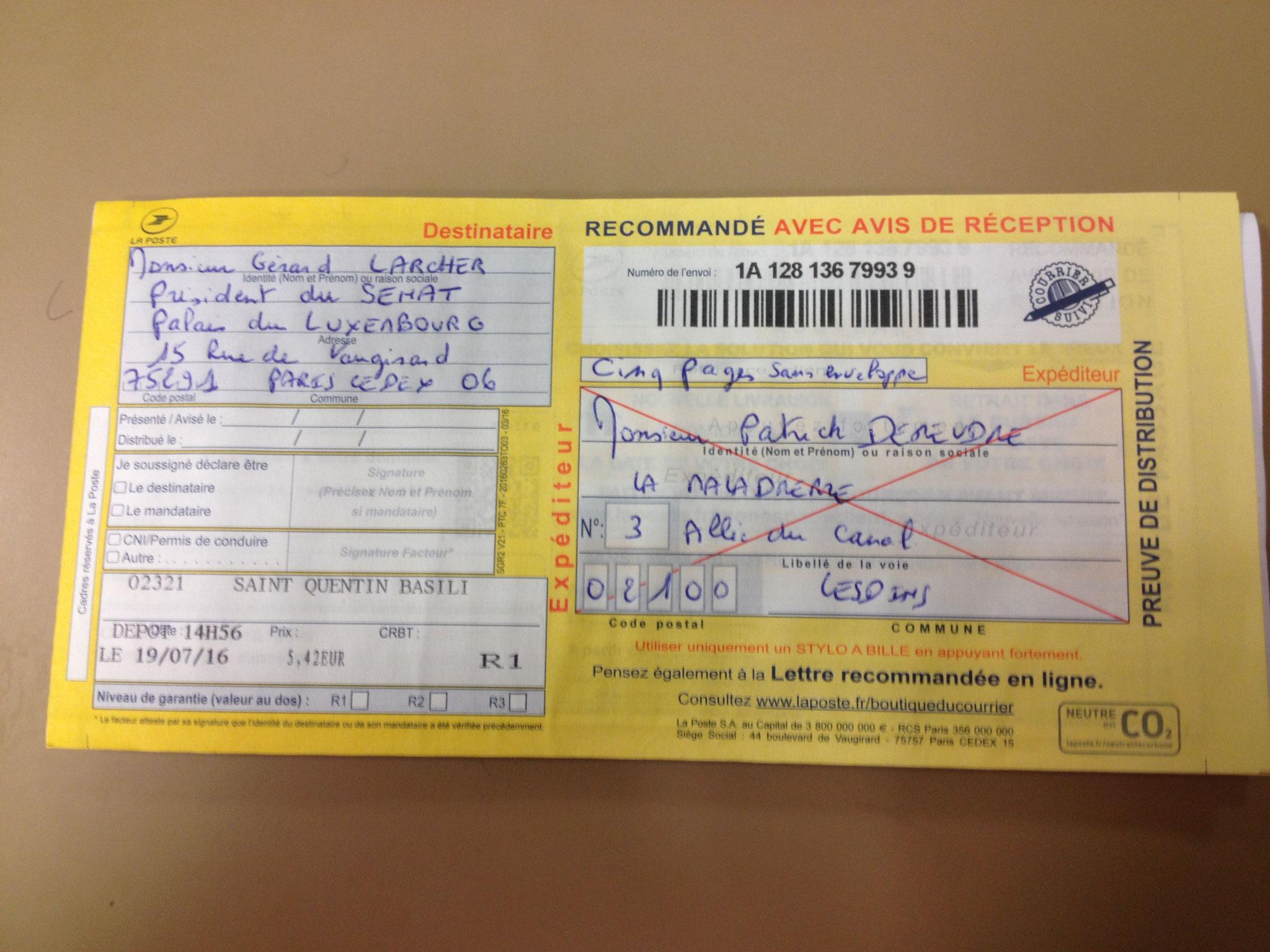 LRAR Verso du 19 Juillet 2016 à Monsieur Gérard LARCHER le Président du Sénat