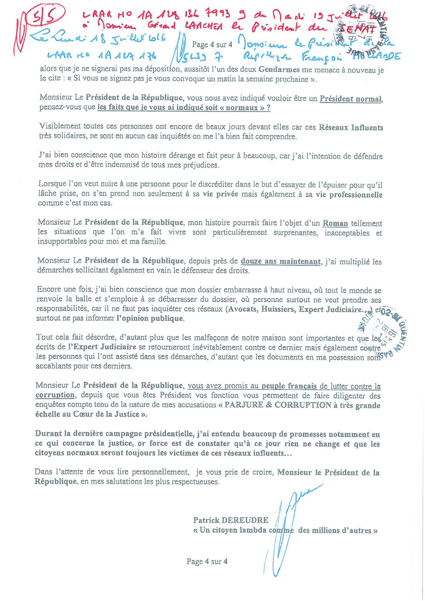 LRAR du 19 Juillet 2016 à Monsieur Gérard LARCHER le Président du Sénat page 5 sur 5