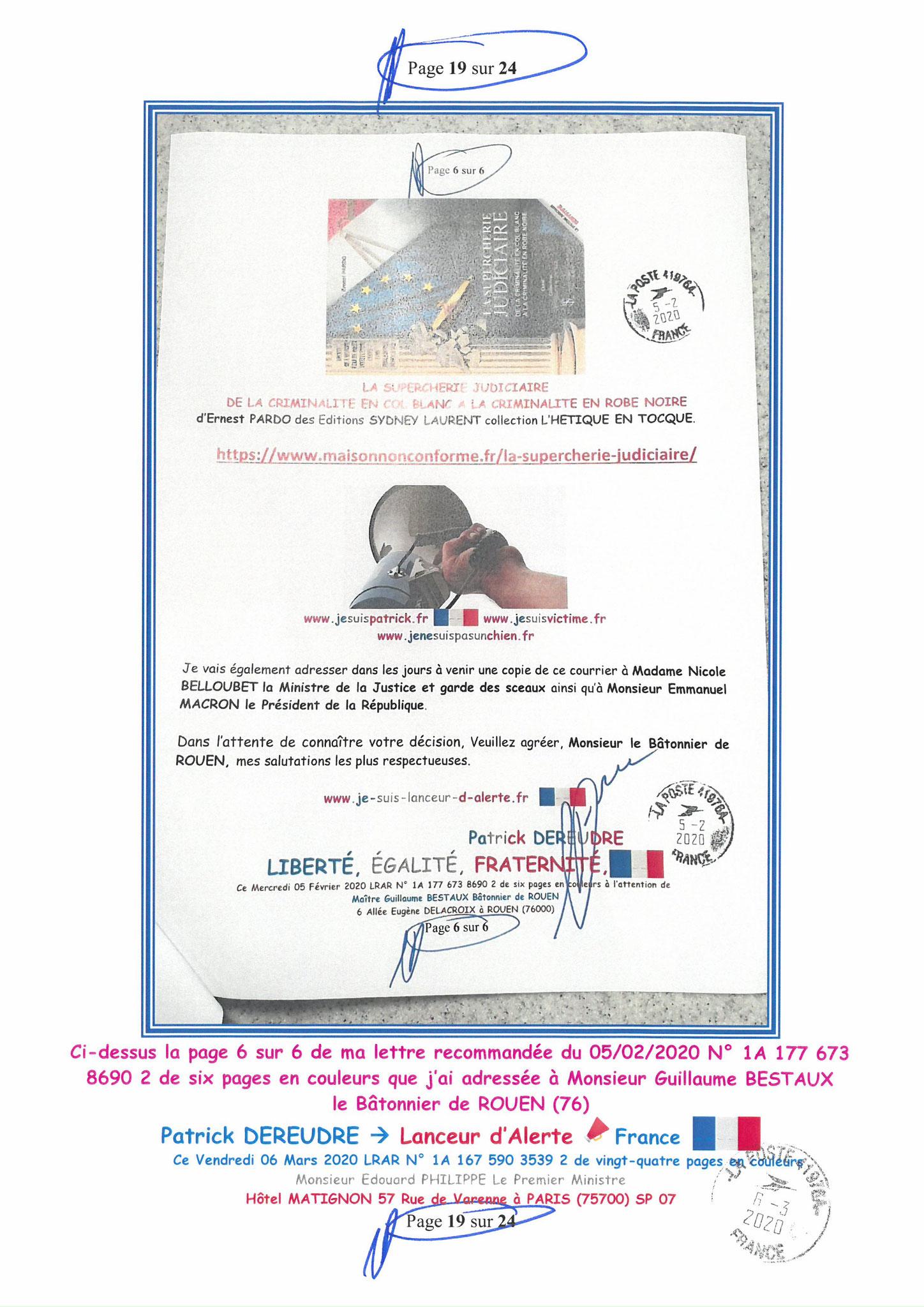 Ma LRAR à Monsieur le  Premier Ministre Edouard PHILIPPE N° 1A 167 590 3539 2 Page 19 sur 24 en Couleur du 06 Mars 2020  www.jesuispatrick.fr www.jesuisvictime.fr www.alerte-rouge-france.fr