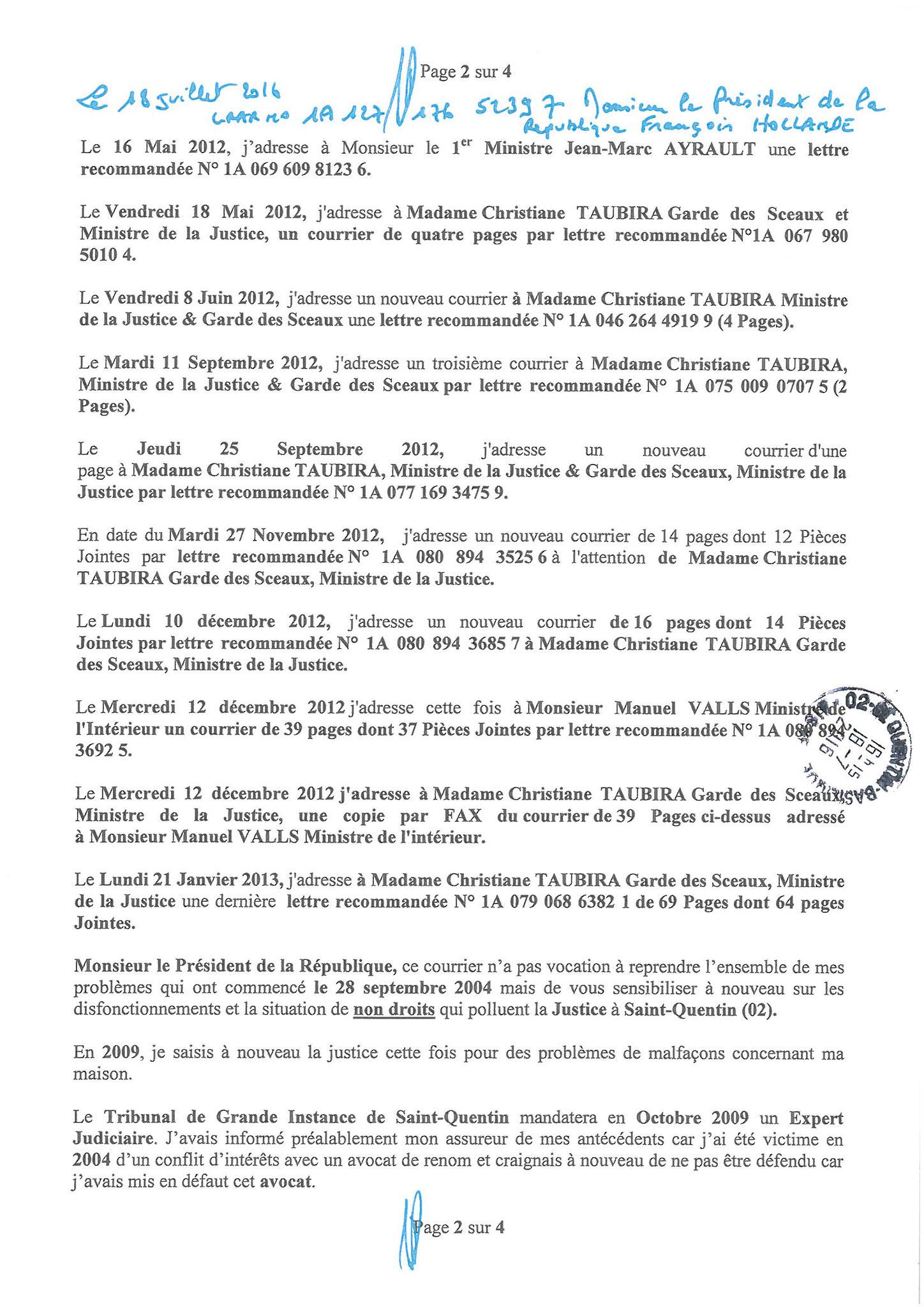 LRAR  du 18 Juillet 2016 à Monsieur François HOLLANDE Président de la République page 2 sur 4