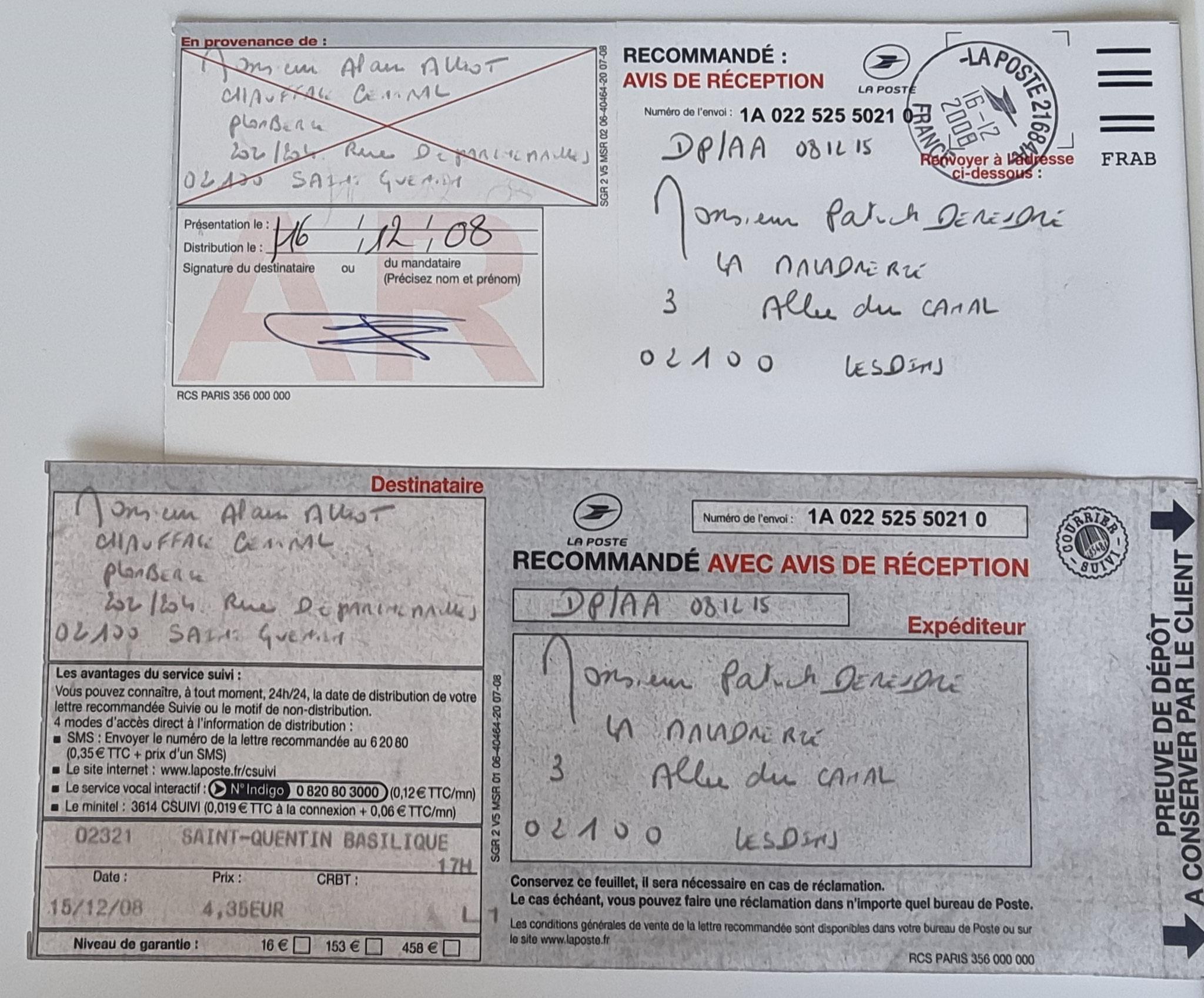 Le 15 décembre 2008 j'adresse une LRAR à Monsieur Alain ALLIOT.     INACCEPTABLE  BORDERLINE      EXPERTISES JUDICIAIRES ENTRE COPAINS...  www.jesuisvictime.fr www.jesuispatrick.fr