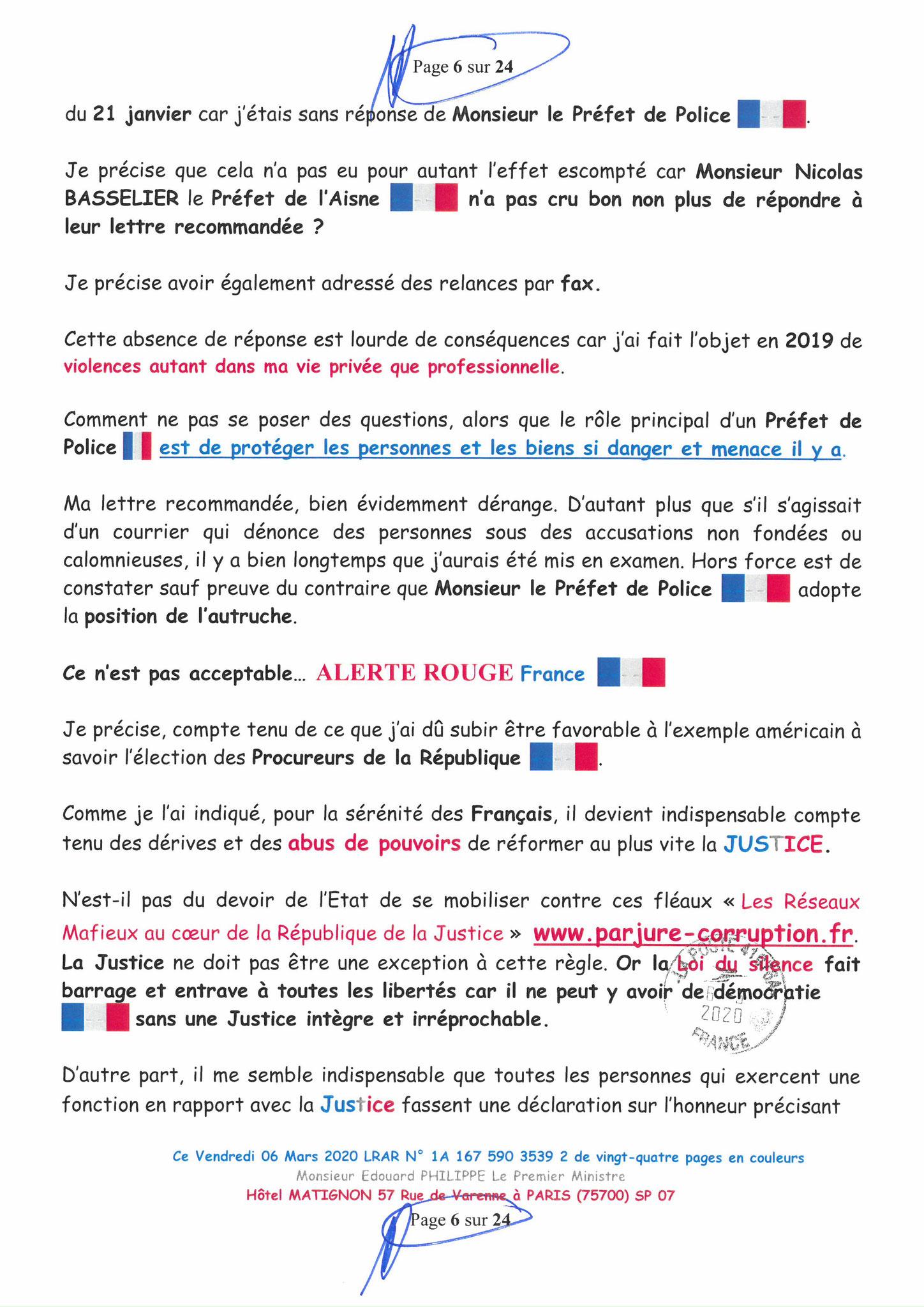 Ma LRAR à Monsieur le  Premier Ministre Edouard PHILIPPE N° 1A 167 590 3539 2 Page 6 sur 24 en Couleur du 06 Mars 2020  www.jesuispatrick.fr www.jesuisvictime.fr www.alerte-rouge-france.fr