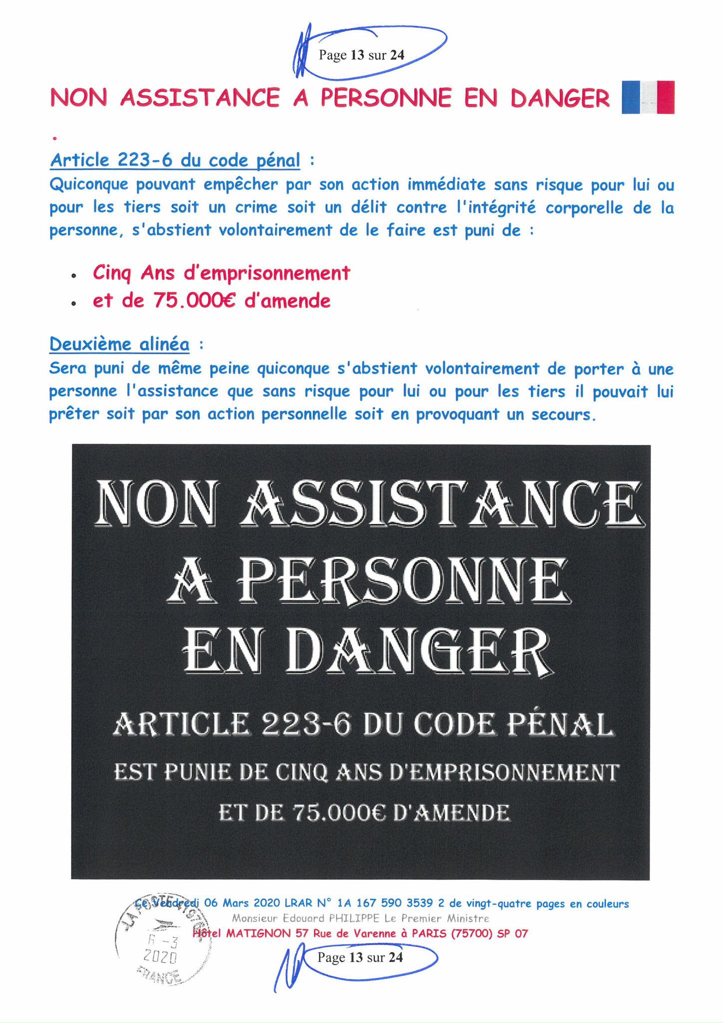Ma LRAR à Monsieur le  Premier Ministre Edouard PHILIPPE N° 1A 167 590 3539 2 Page 13 sur 24 en Couleur du 06 Mars 2020  www.jesuispatrick.fr www.jesuisvictime.fr www.alerte-rouge-france.fr